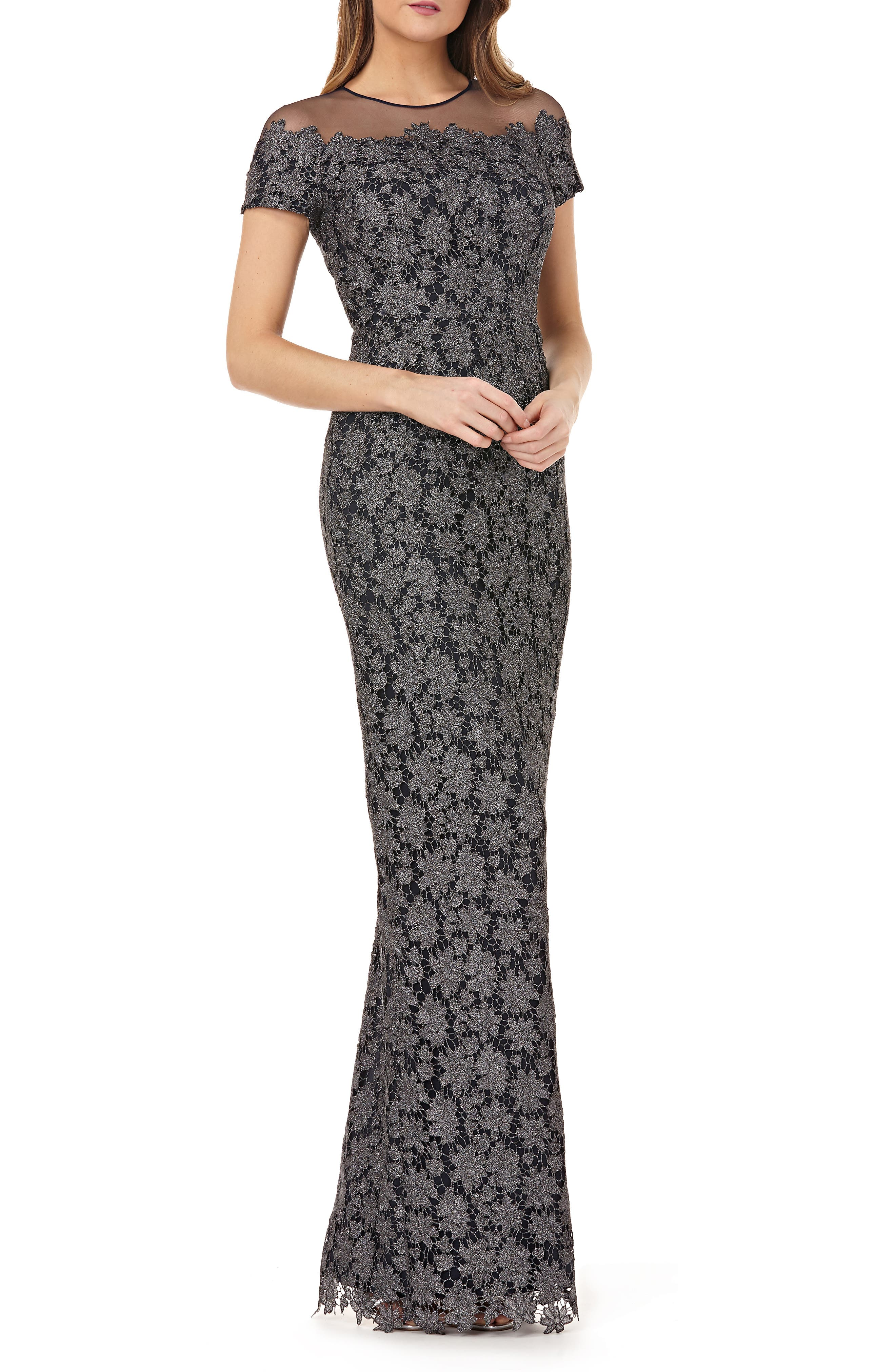 Js Collections Illusion Metallic Lace Gown, Grey