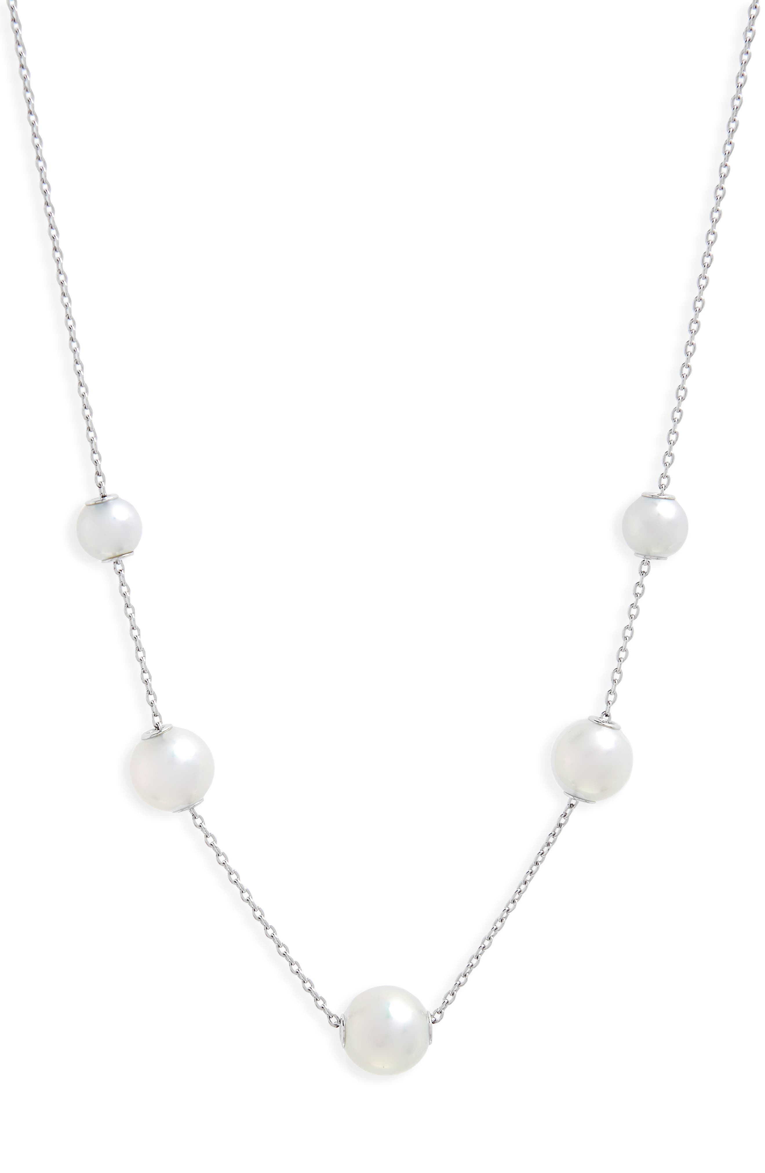 Graduated Pearl Station Necklace,                         Main,                         color, WHITE GOLD