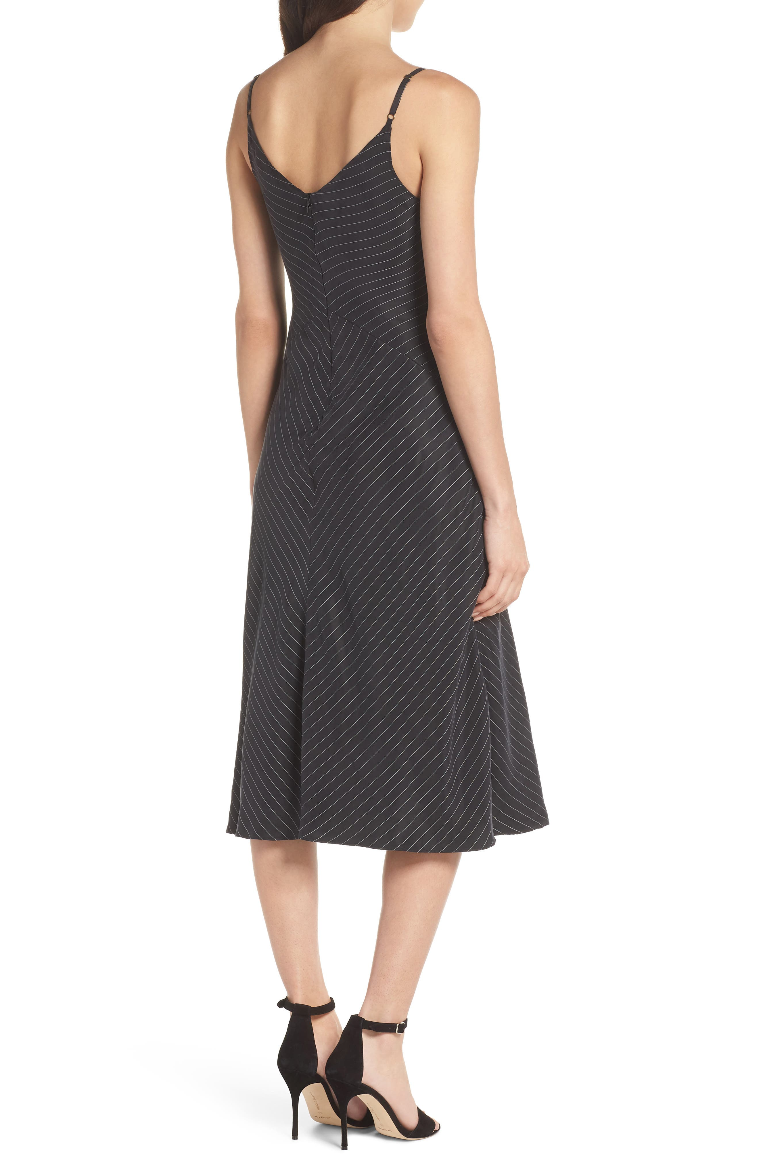 Bay Area Sleeveless Pinstripe Midi Dress,                             Alternate thumbnail 2, color,                             001