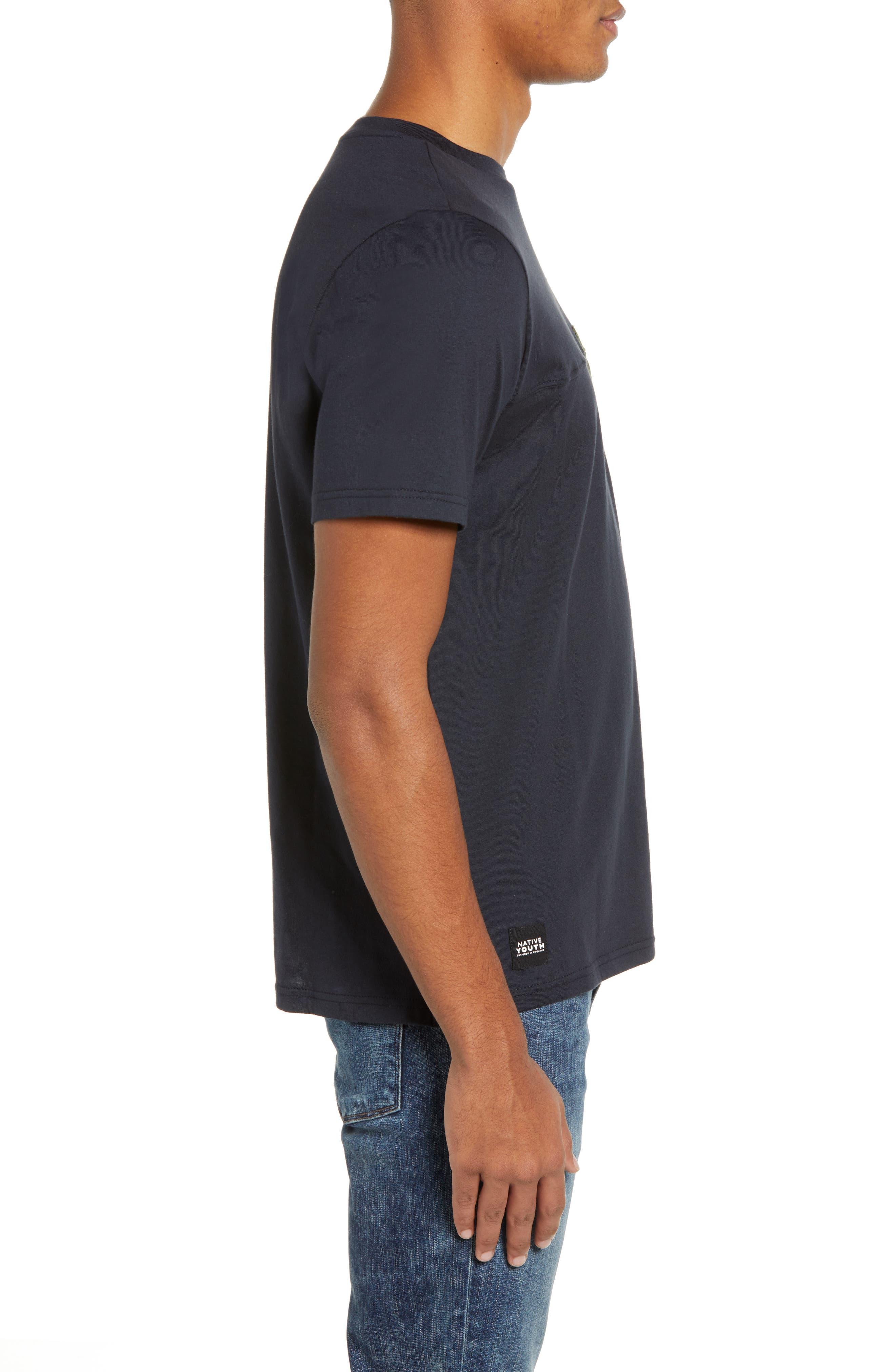 Seamed Pocket T-Shirt,                             Alternate thumbnail 3, color,                             NAVY
