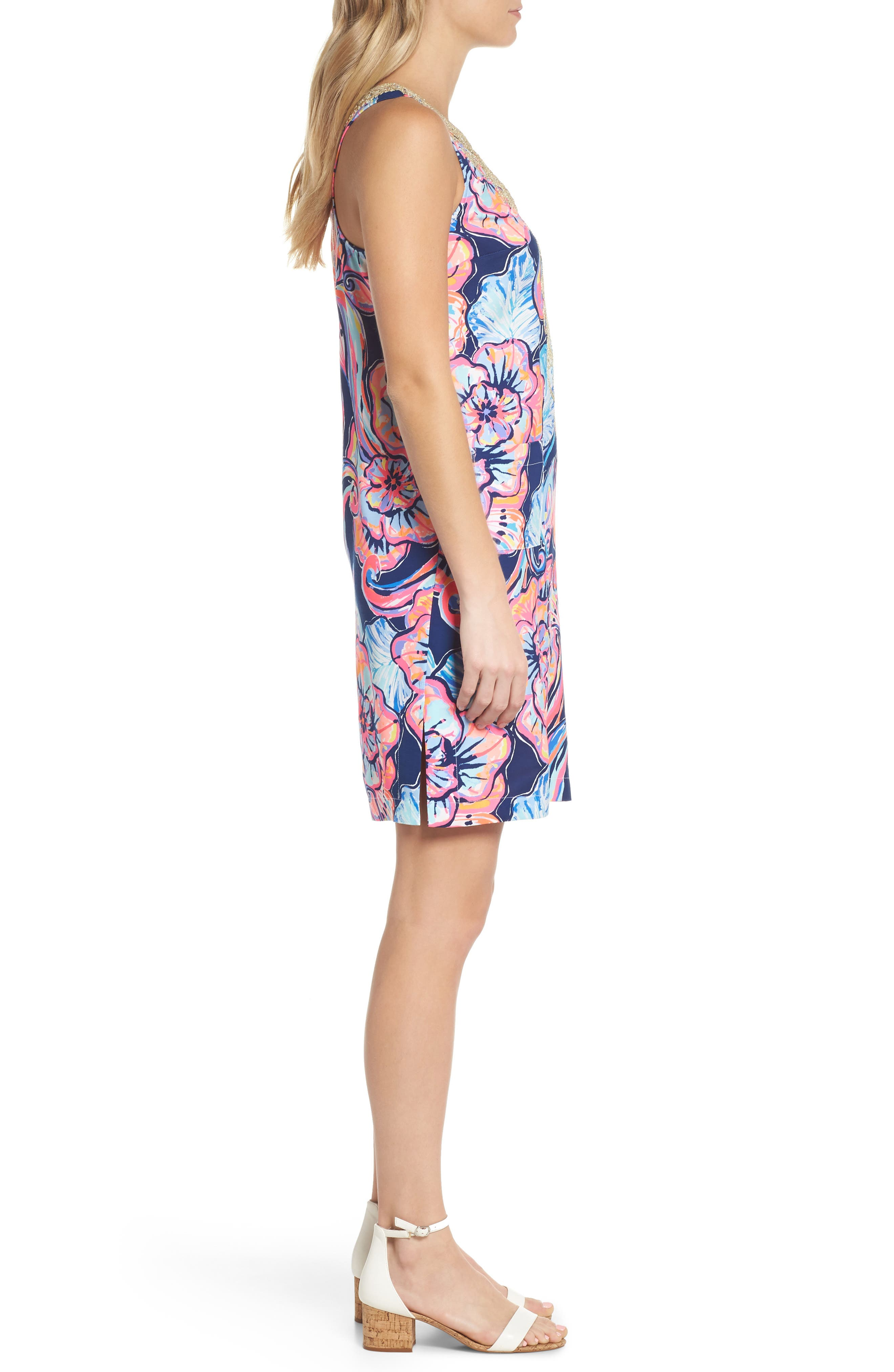 Carlotta Sleeveless Stretch Shift Dress,                             Alternate thumbnail 3, color,                             NAUTICAL NAVY