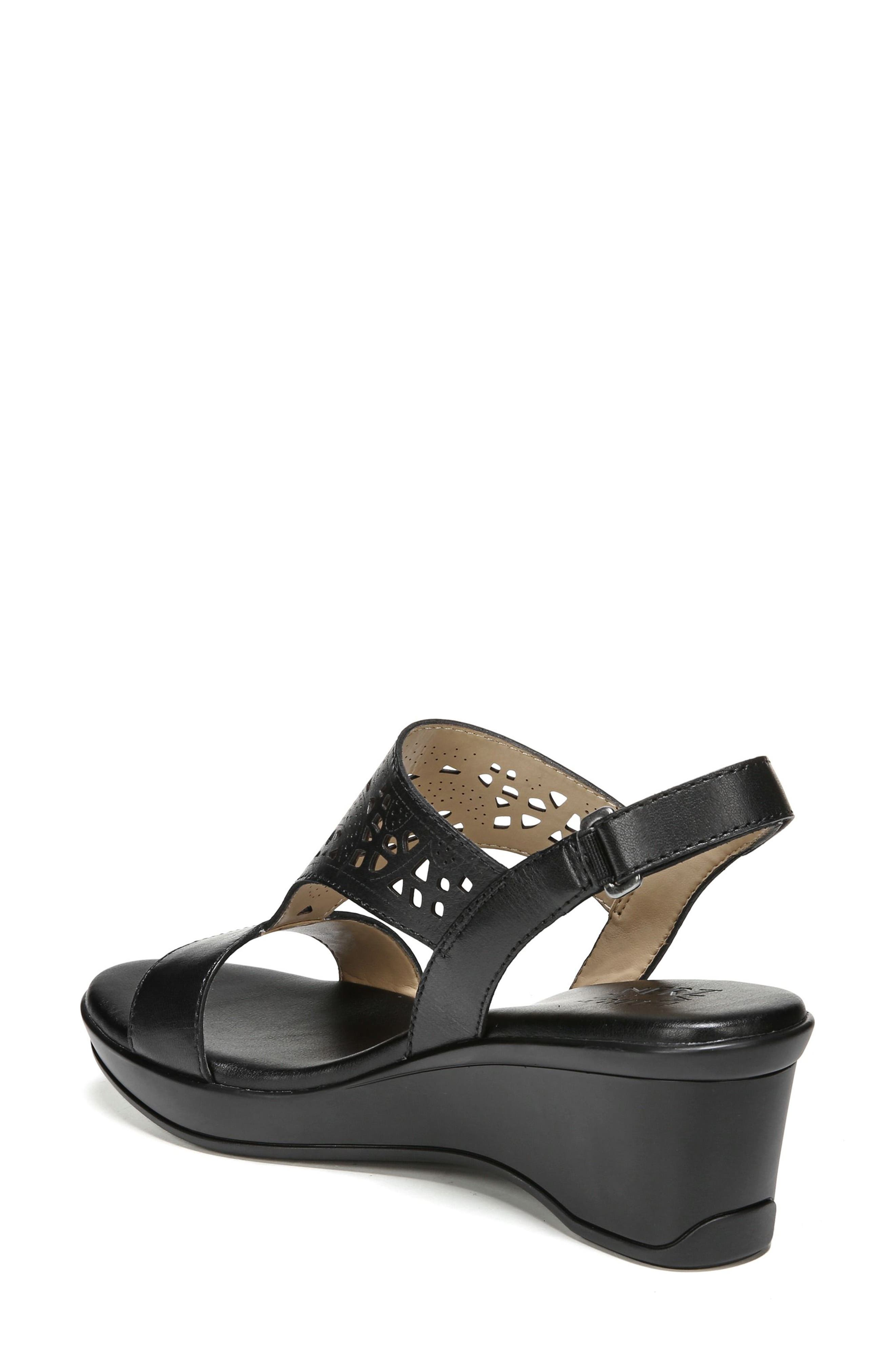 Veda Wedge Sandal,                             Alternate thumbnail 7, color,                             BLACK LEATHER