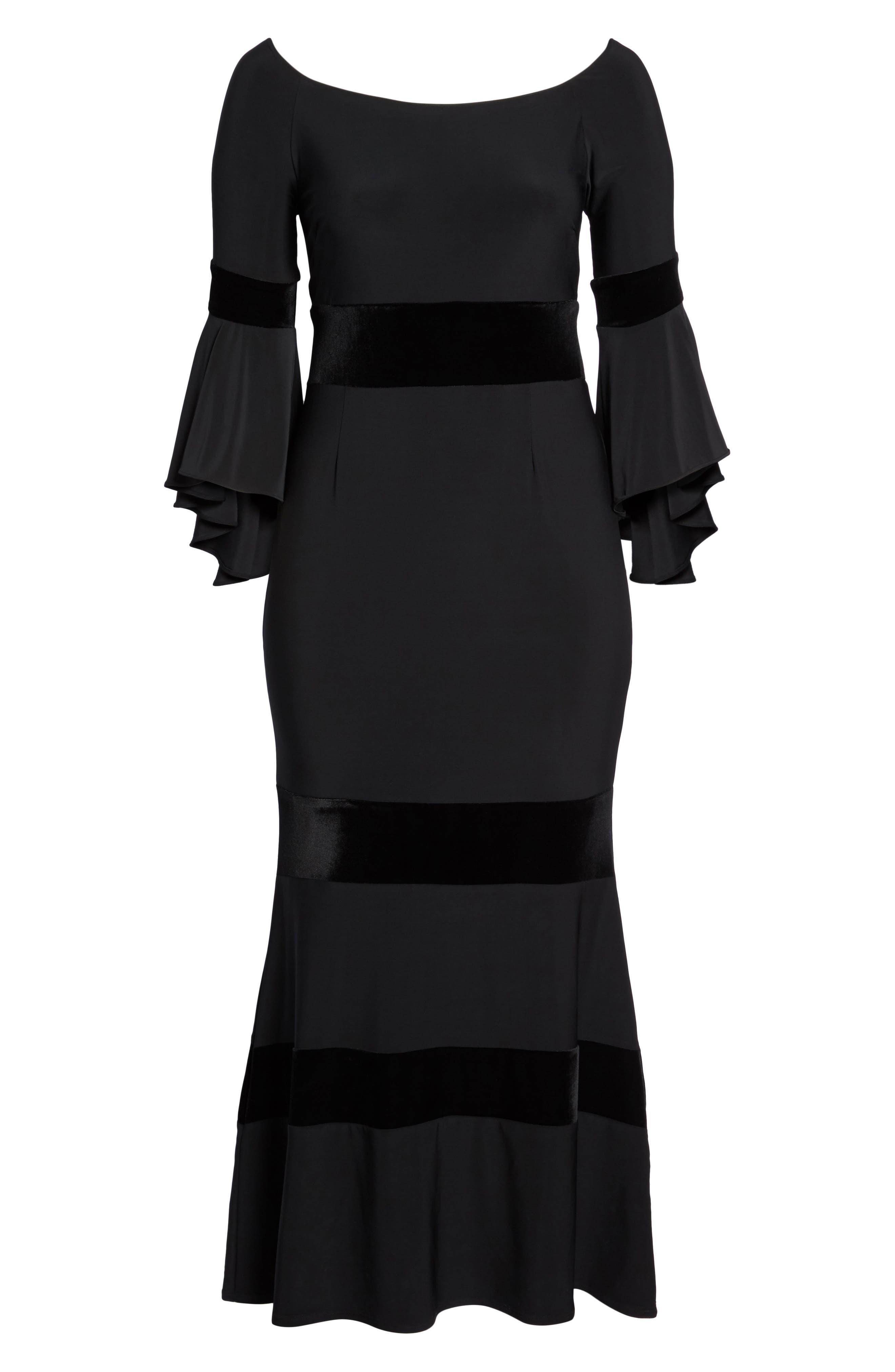 Velvet Trim Maxi Dress,                             Alternate thumbnail 6, color,                             001
