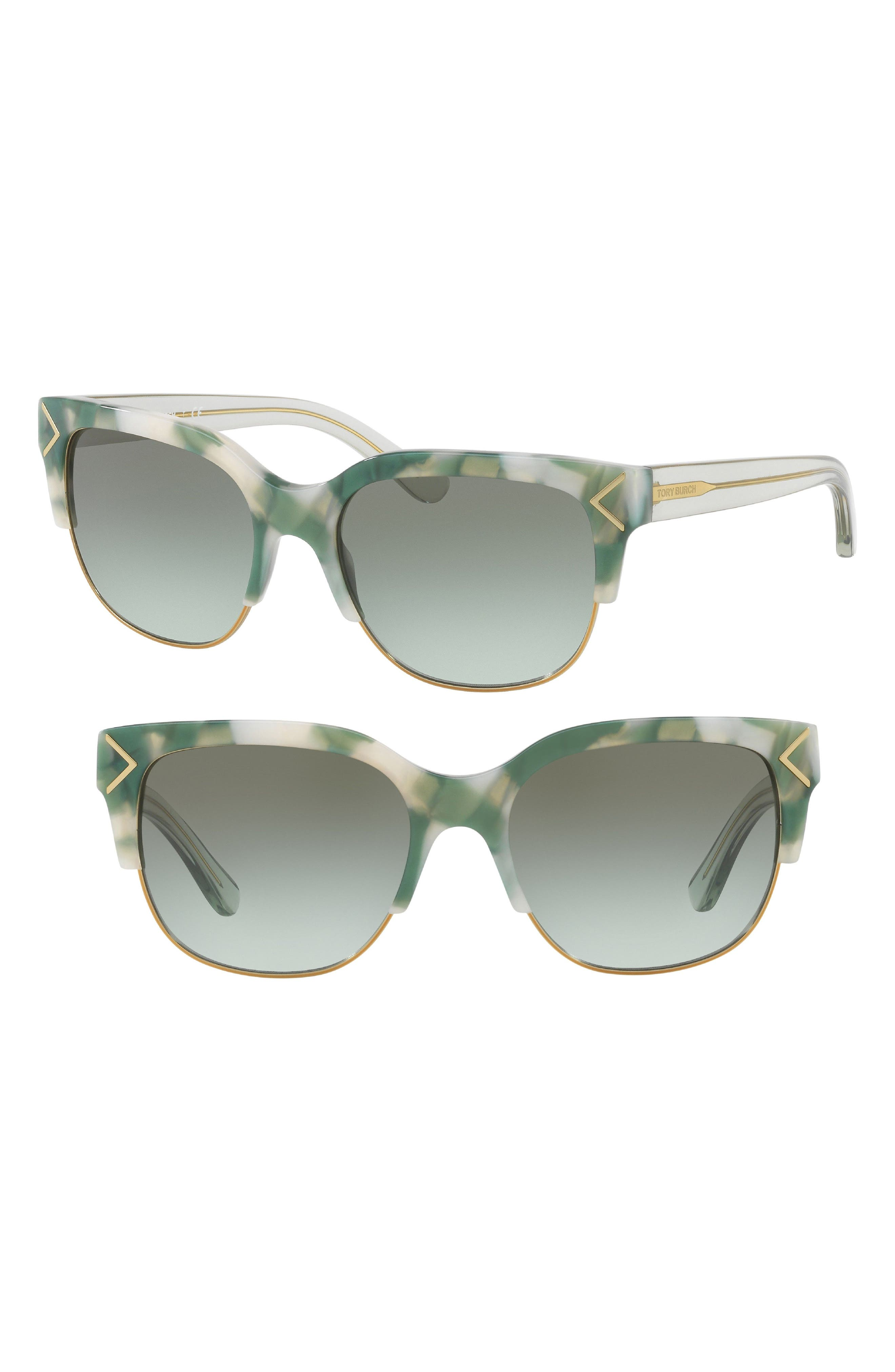 TORY BURCH 55mm Gradient Square Sunglasses, Main, color, 001