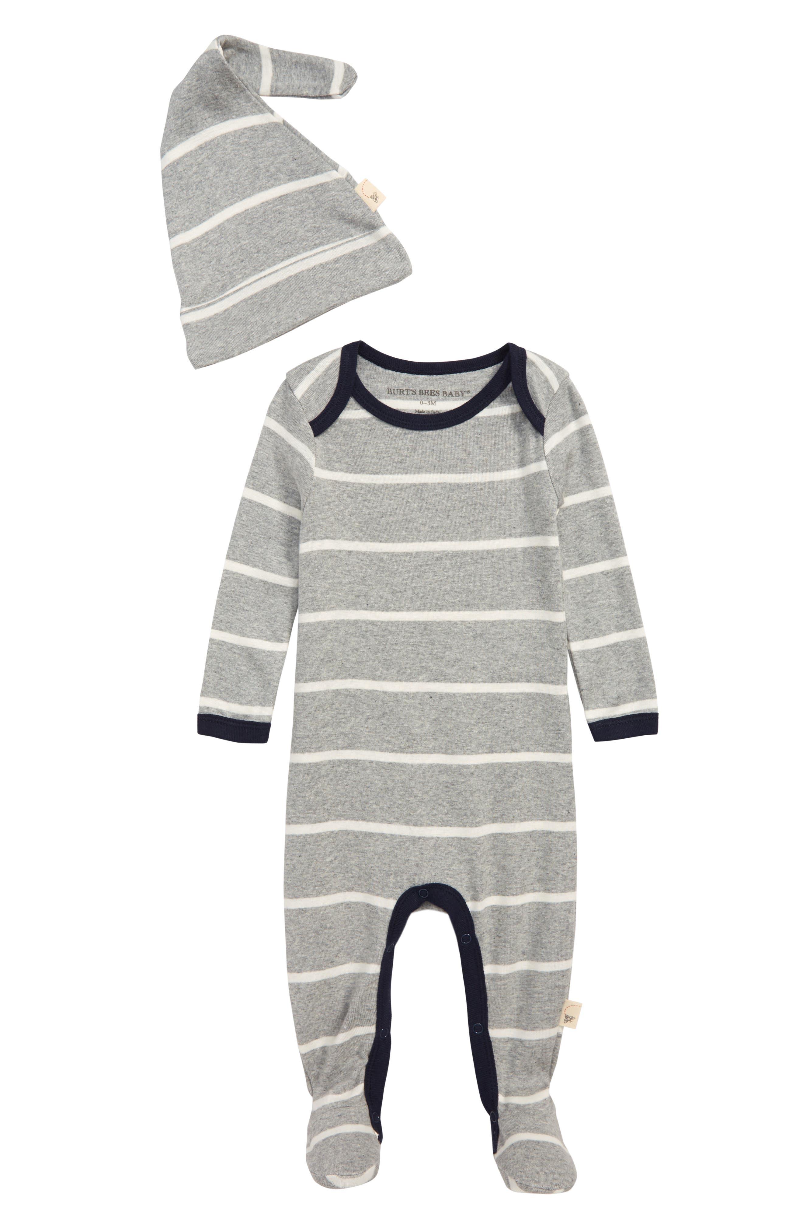 Striped Footie & Hat Set,                             Main thumbnail 1, color,