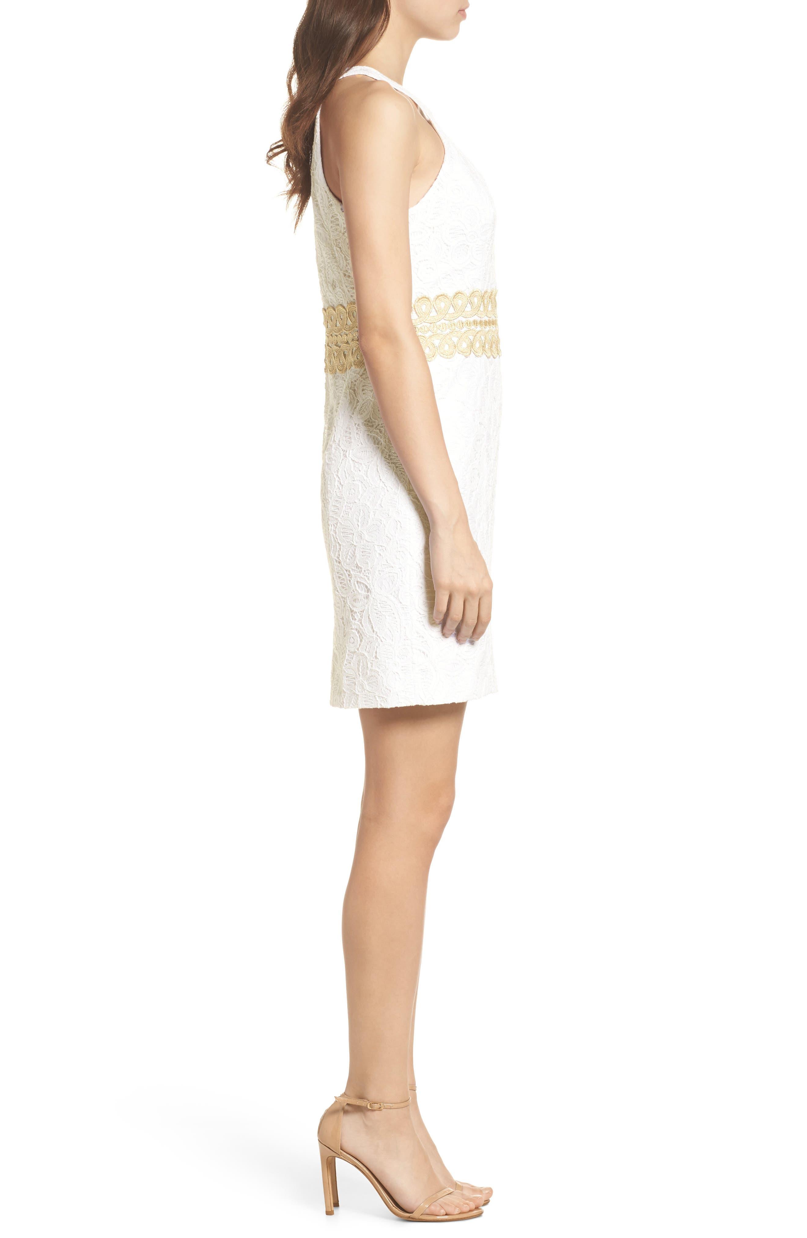 Ashlyn Lace Dress,                             Alternate thumbnail 3, color,                             RESORT WHITE POP FLORAL LACE