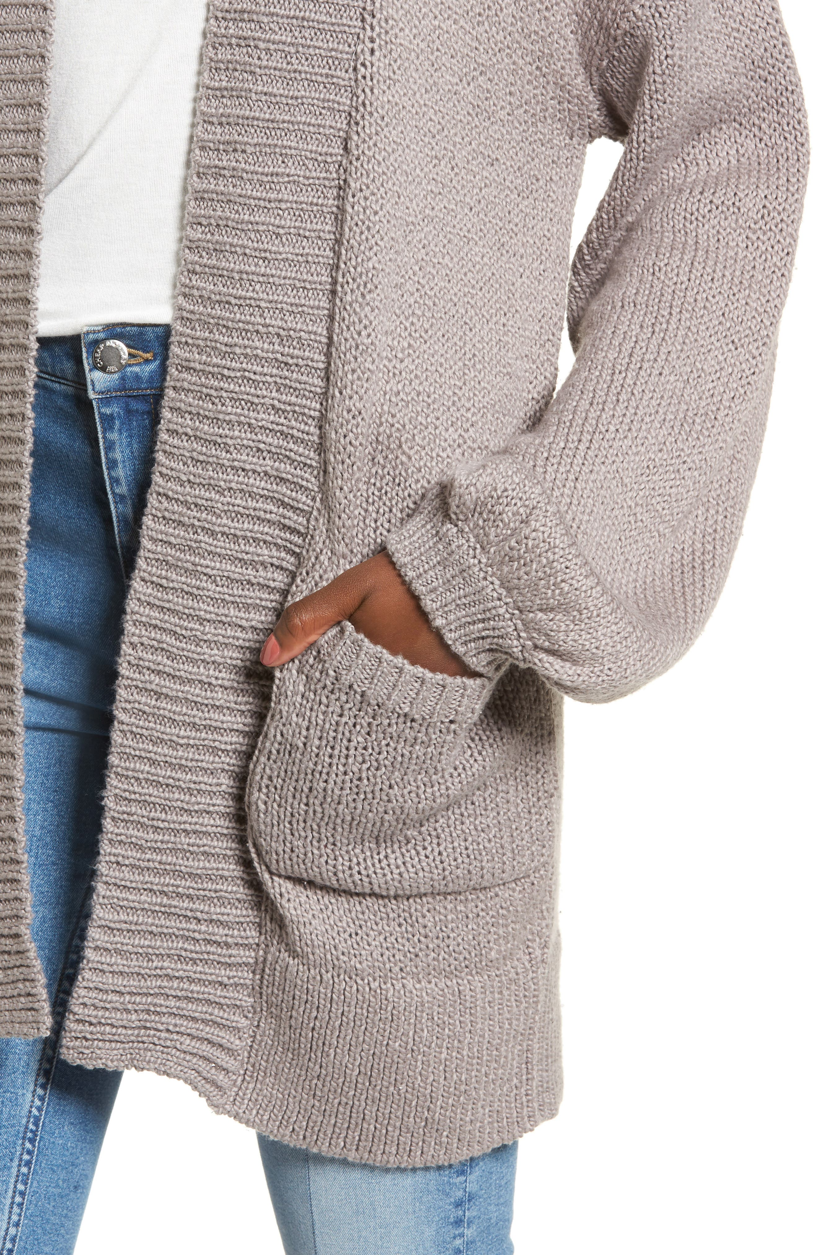 Blouson Sleeve Knit Cardigan,                             Alternate thumbnail 4, color,                             030