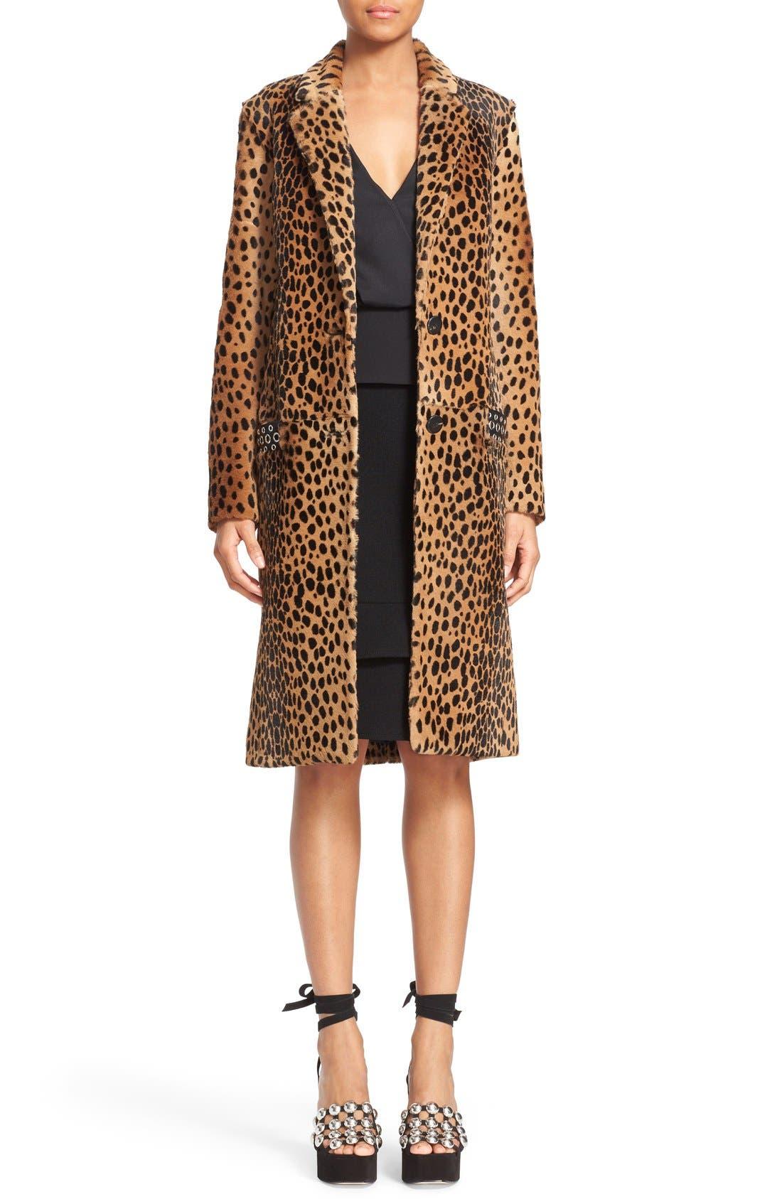 Cheetah Print Genuine Kangaroo Fur Coat,                             Main thumbnail 1, color,