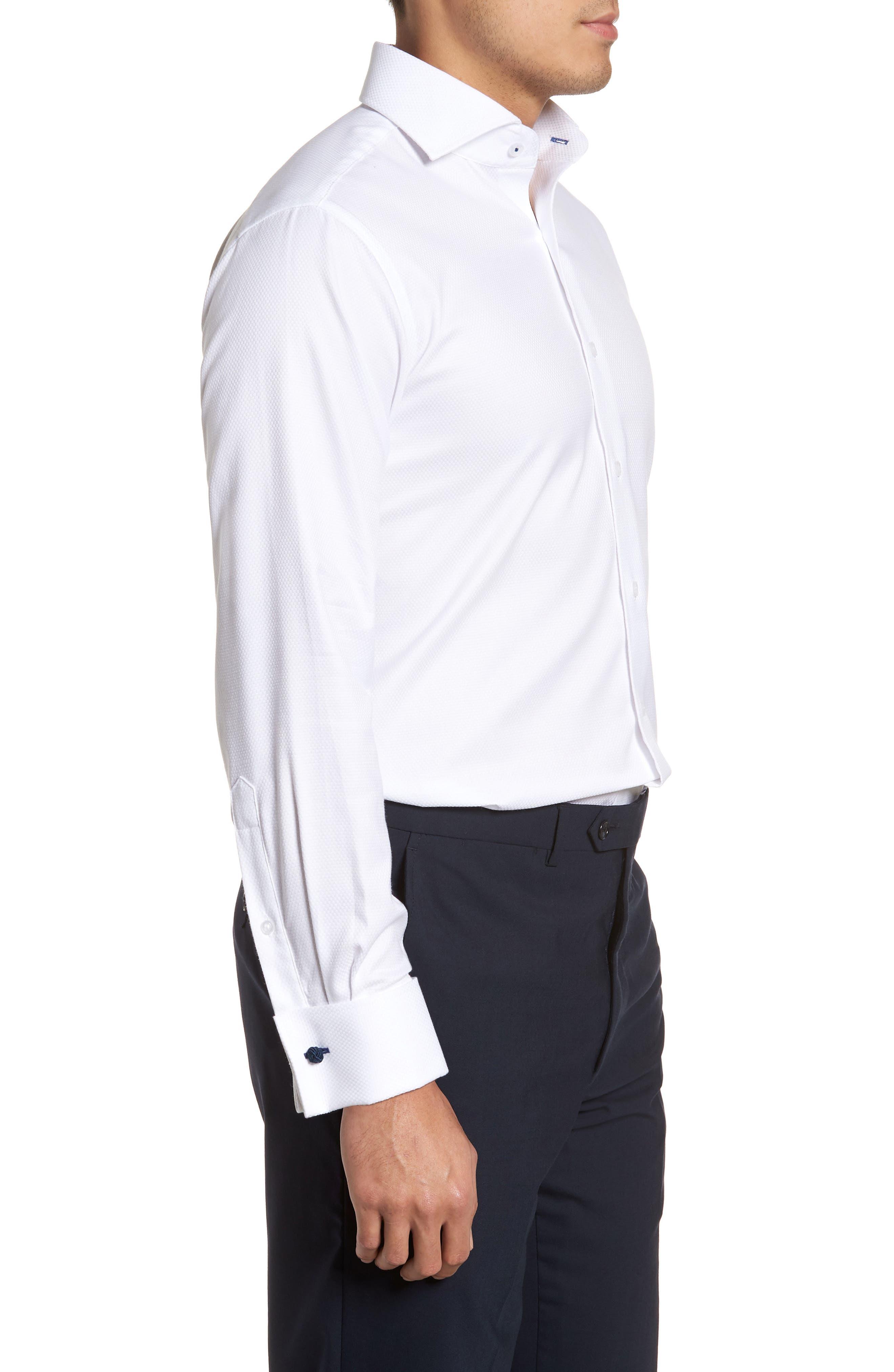 Trim Fit Basket Weave Dress Shirt,                             Alternate thumbnail 4, color,                             WHITE