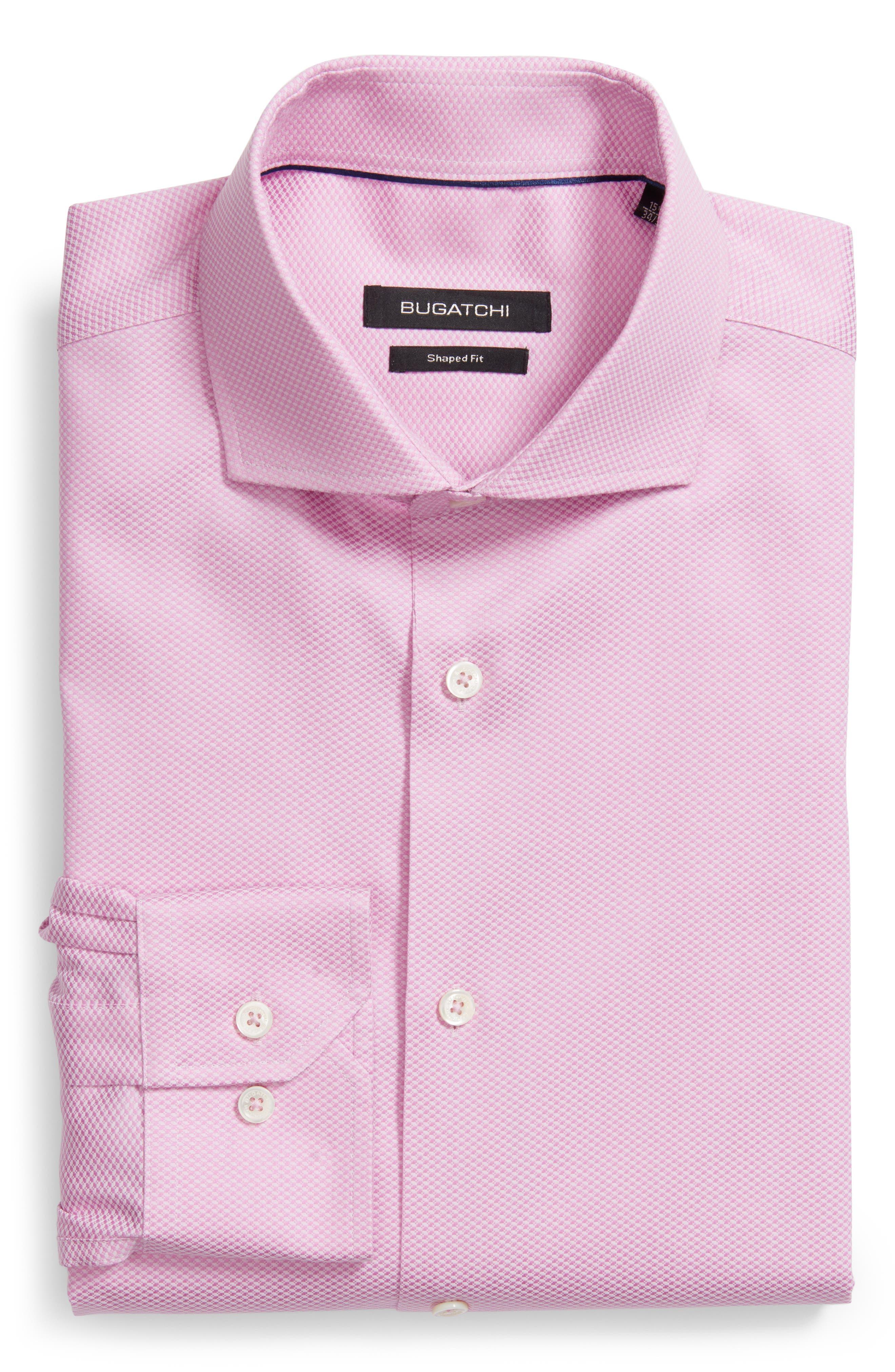 Trim Fit Dress Shirt,                         Main,                         color, PINK