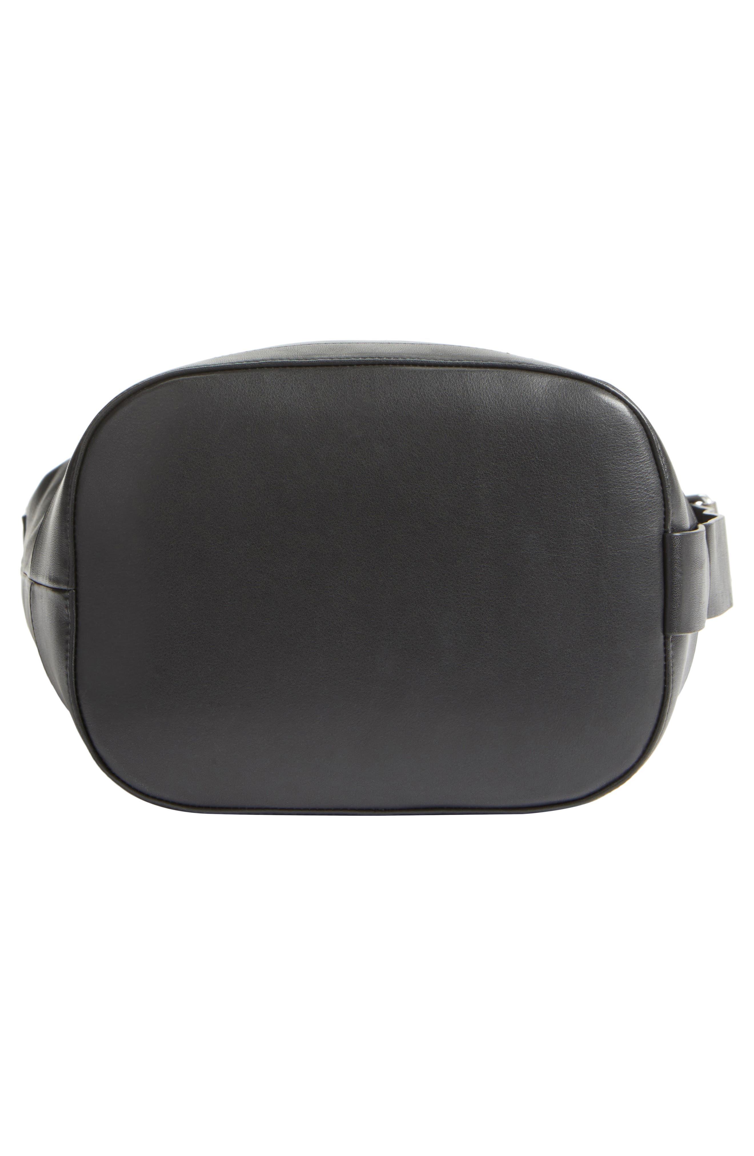 Walker Sling Leather Bucket Bag,                             Alternate thumbnail 5, color,                             001