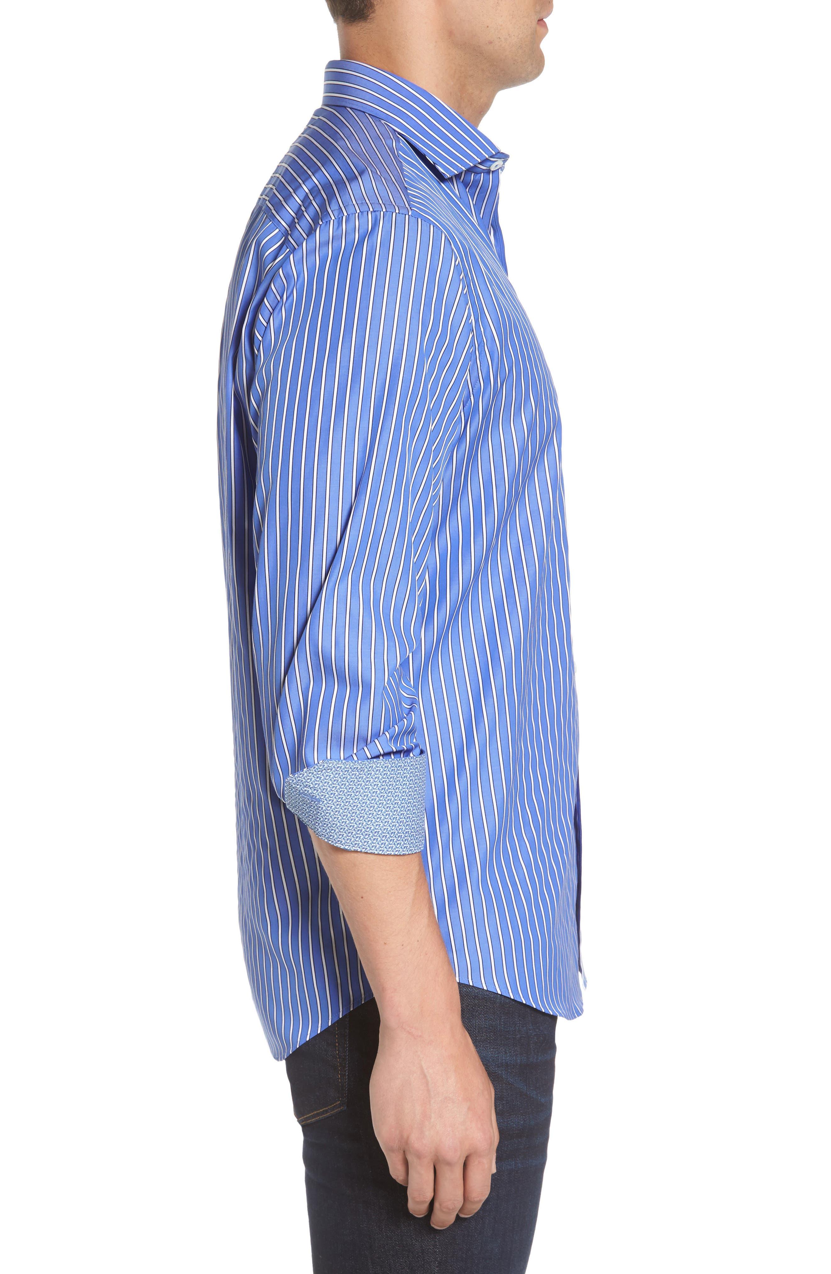 Classic Fit Stripe Sport Shirt,                             Alternate thumbnail 3, color,                             422