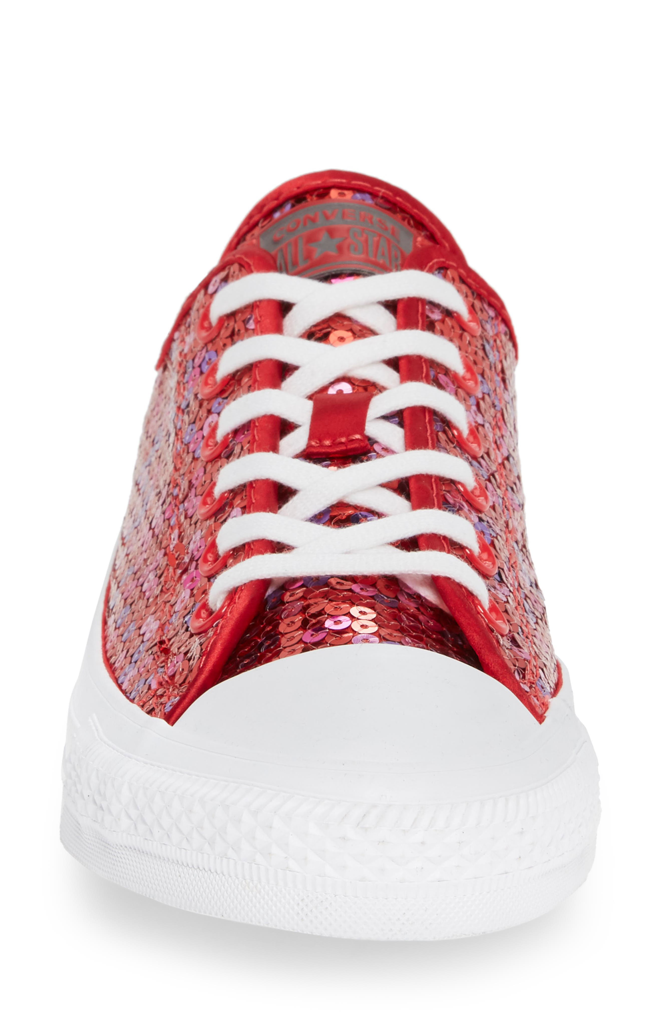 Chuck Taylor<sup>®</sup> All Star<sup>®</sup> Sequin Low Top Sneaker,                             Alternate thumbnail 4, color,                             RED CHERRY SEQUINS