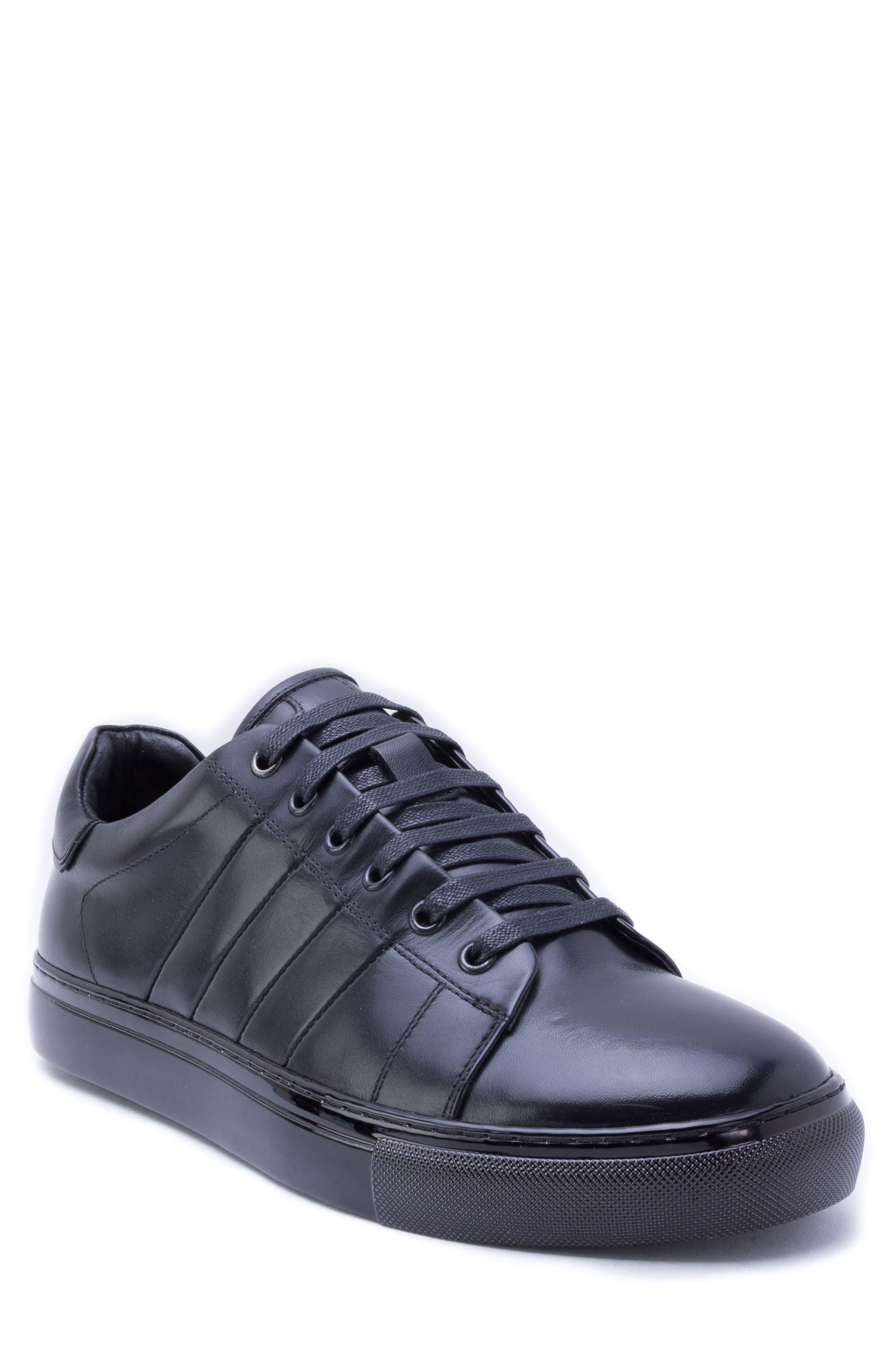 Hackman Sneaker,                         Main,                         color, BLACK LEATHER