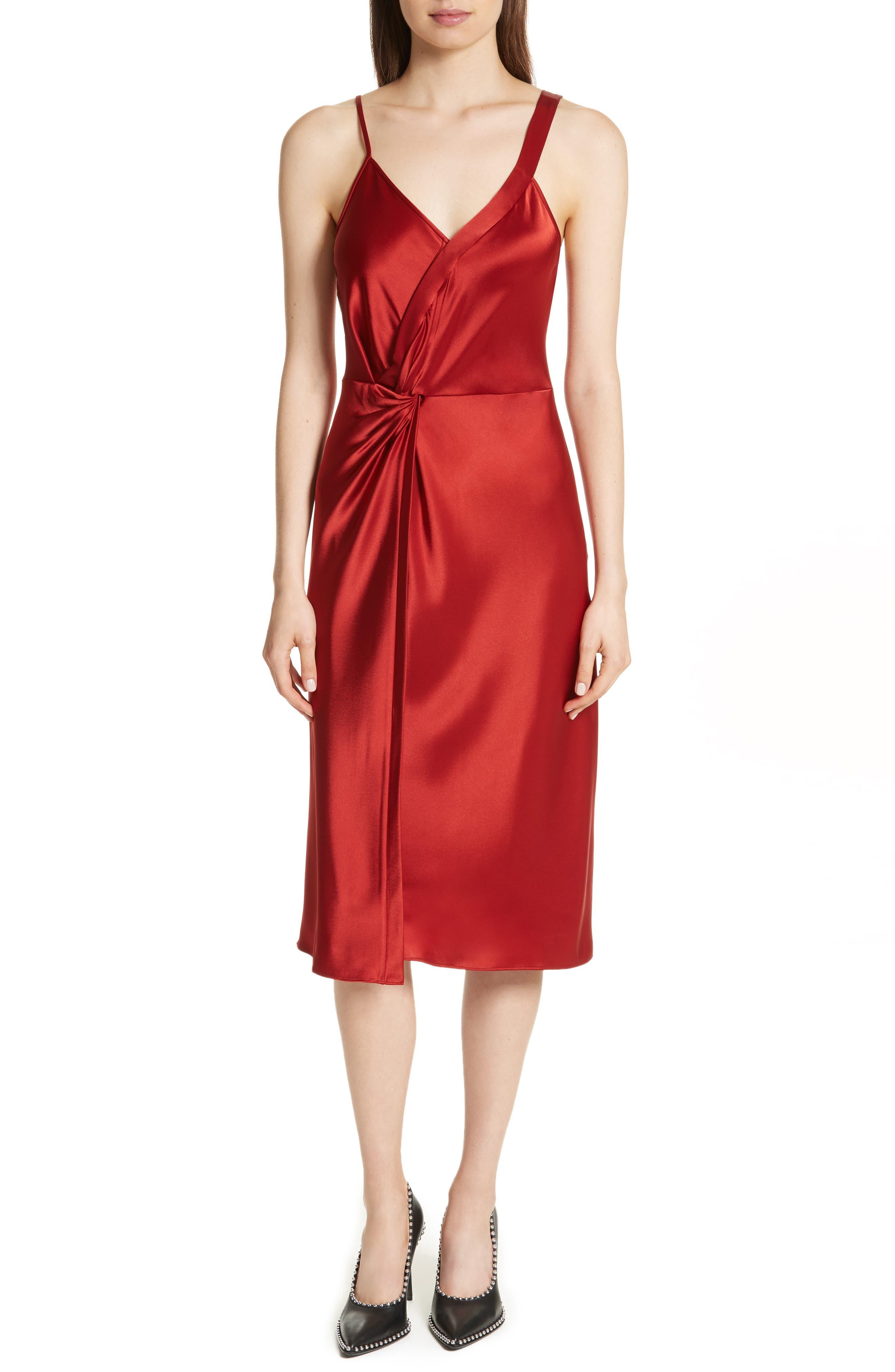T by Alexander Wang Draped Satin Dress,                             Main thumbnail 1, color,                             610