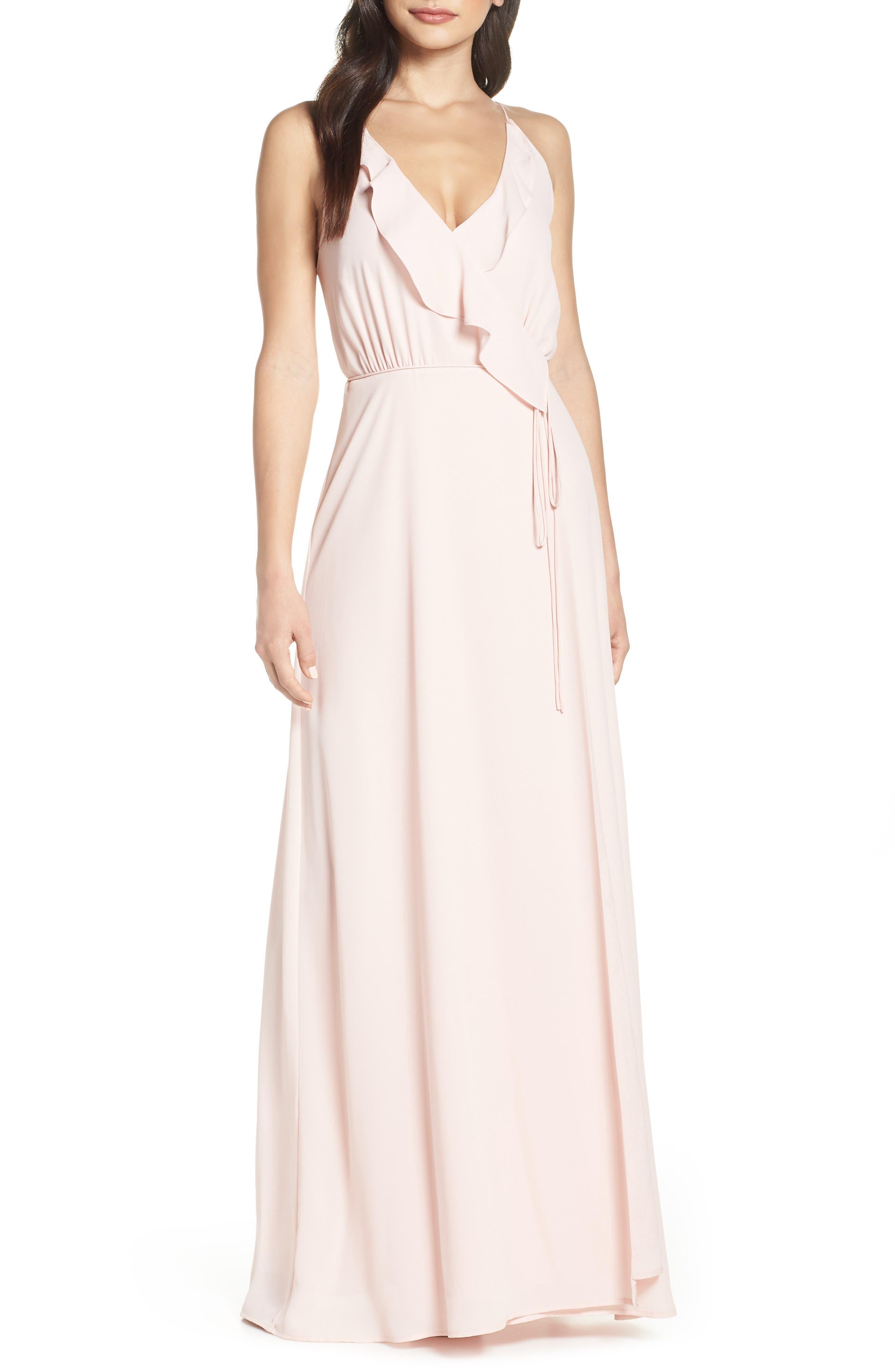 Wayf Jamie Ruffle Wrap Gown, Pink