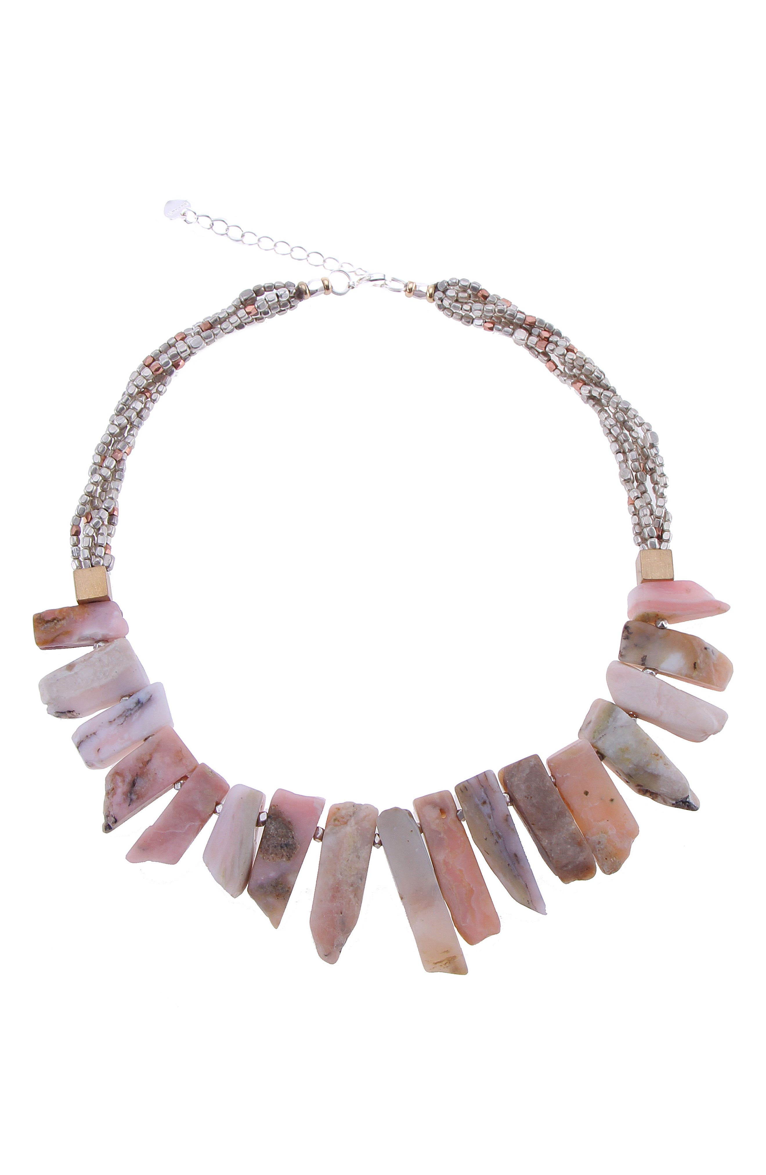 Short Stick Agate & Crystal Collar Necklace,                             Main thumbnail 1, color,