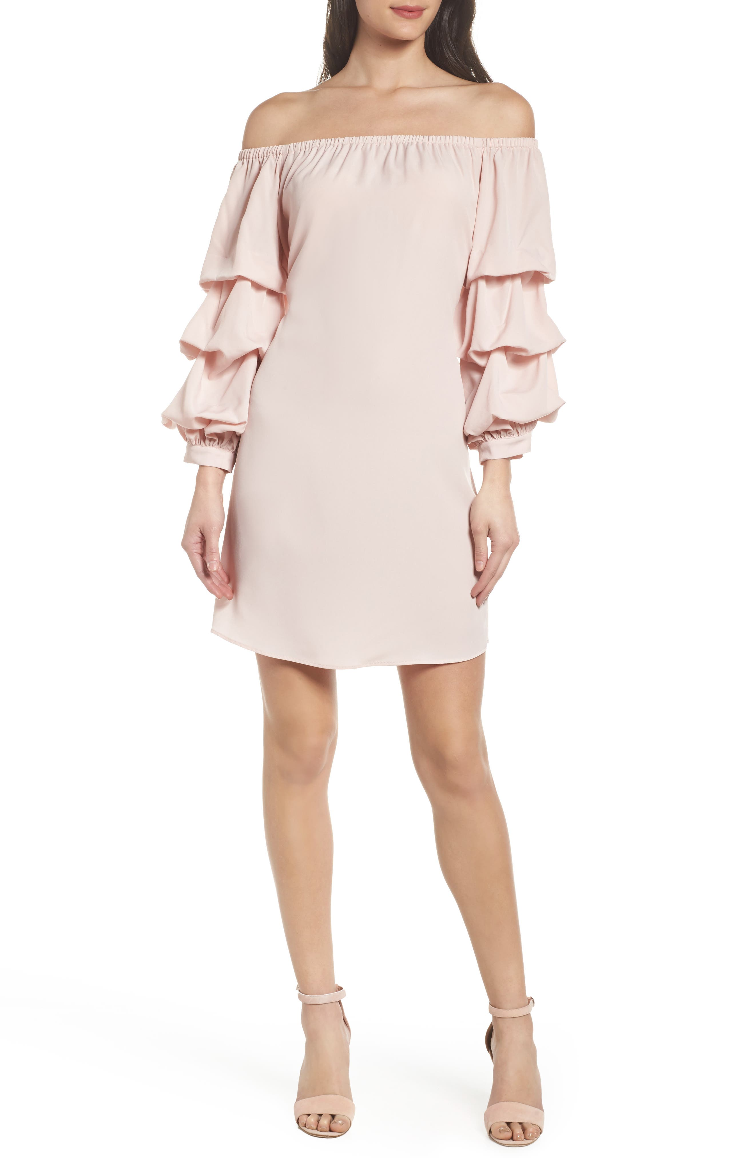 Off the Shoulder Tiered Sleeve Dress,                             Alternate thumbnail 15, color,