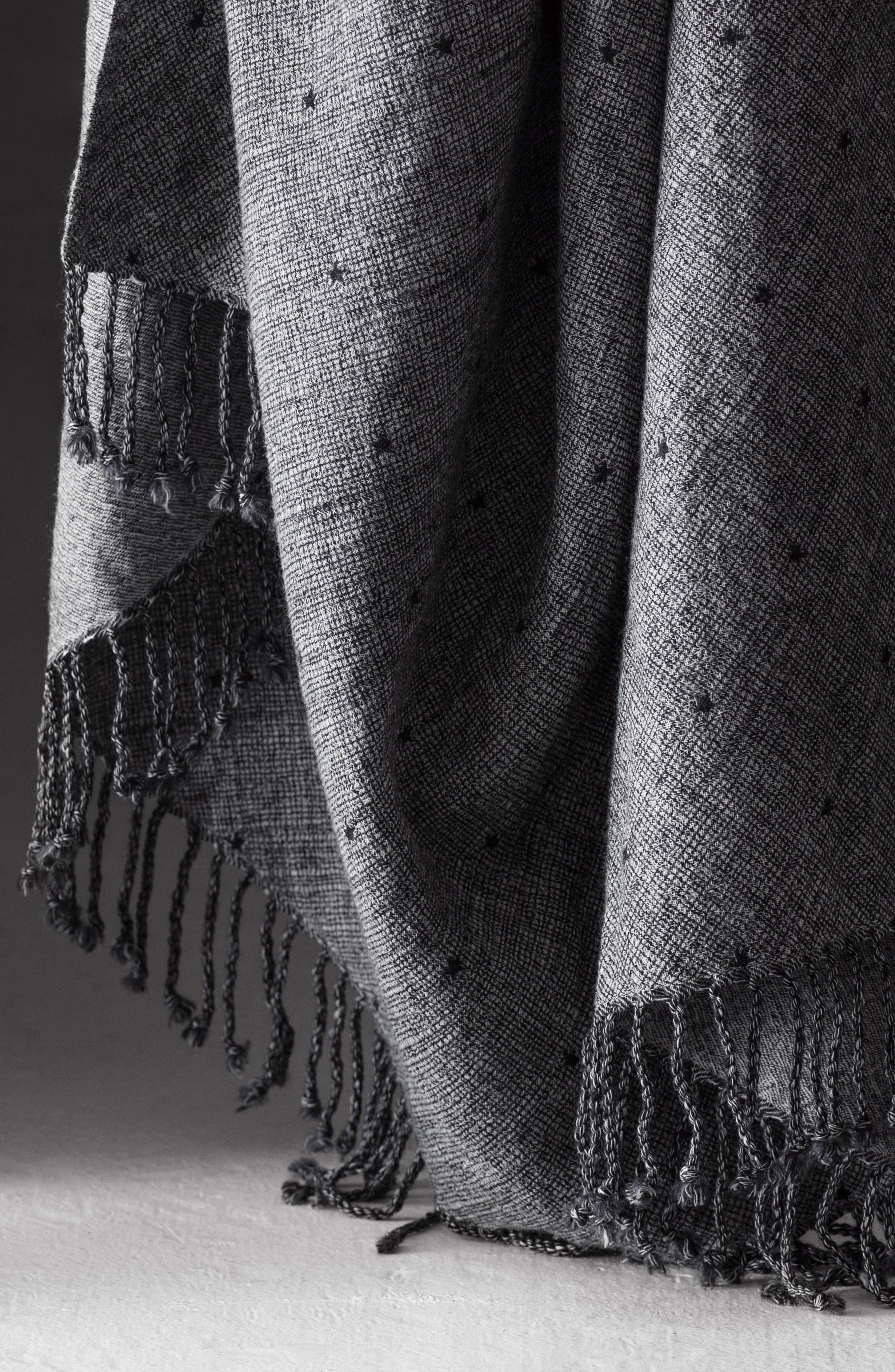 Blackstar Double Face Merino Wool Throw,                             Alternate thumbnail 4, color,                             BLACKSTAR