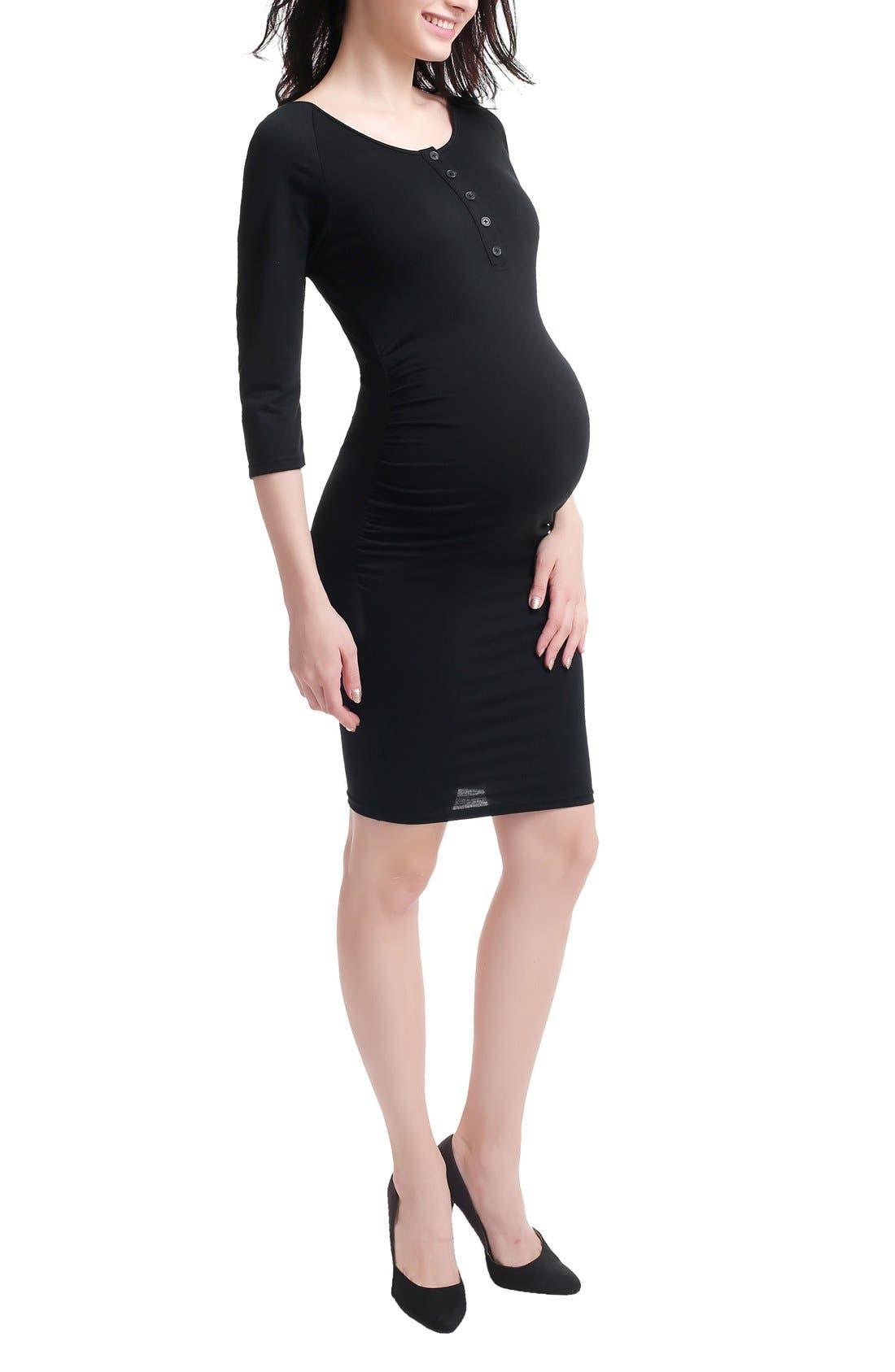Dani Henley Maternity Dress,                             Alternate thumbnail 4, color,                             001
