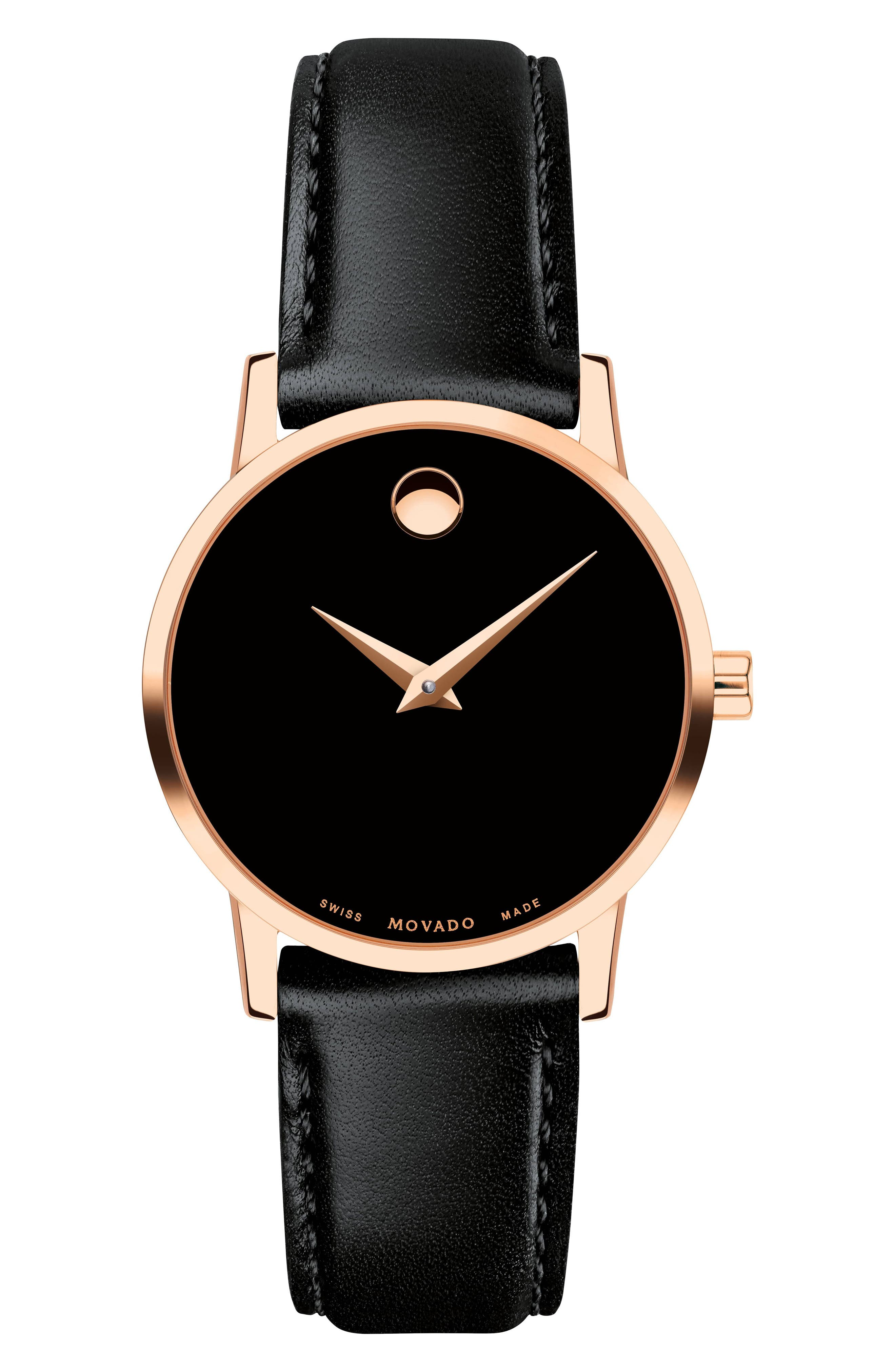 Leather Strap Watch, 28mm,                         Main,                         color, BLACK/ ROSE GOLD