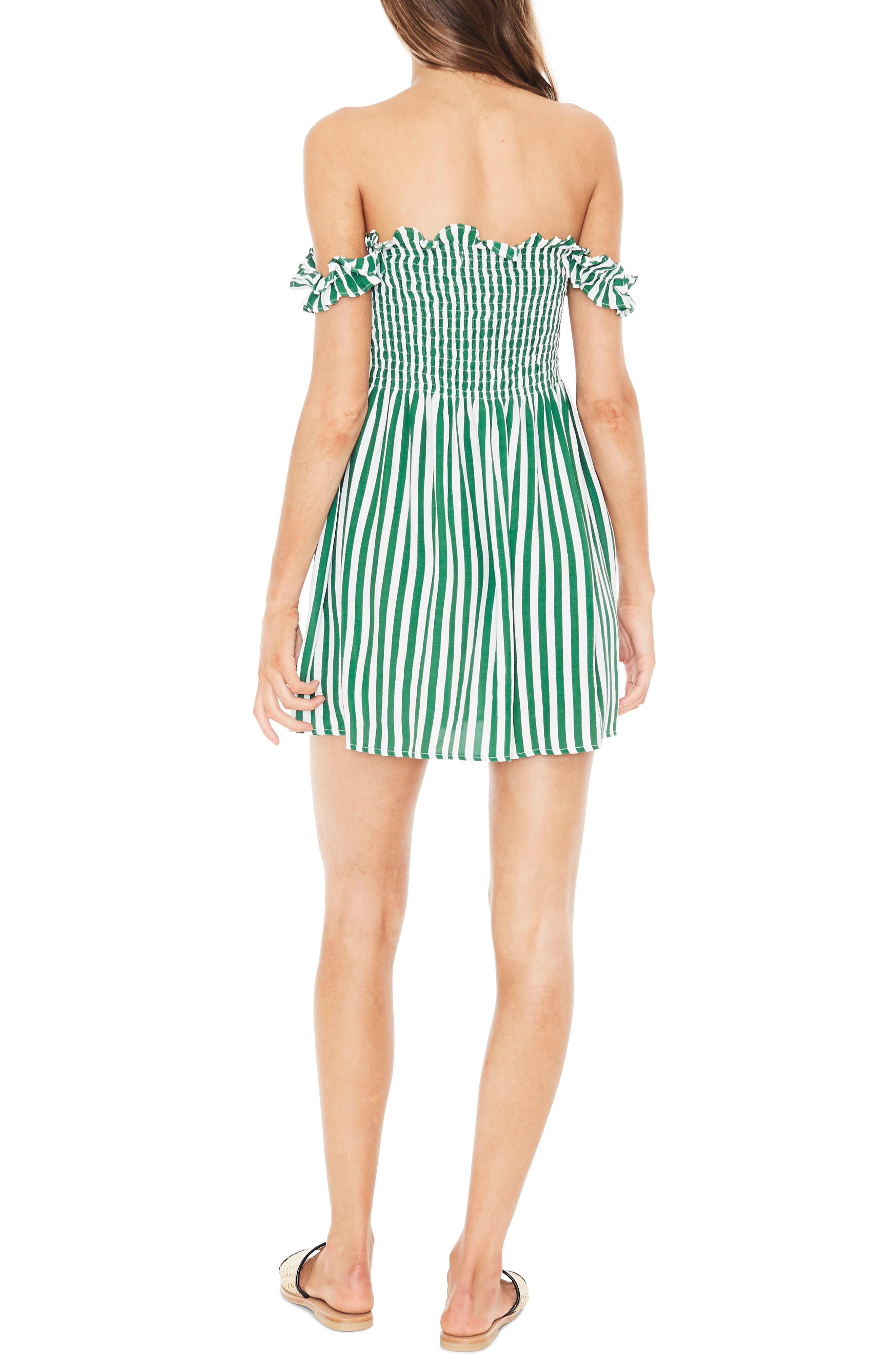 Mika Smocked Dress,                             Alternate thumbnail 2, color,                             ZEUS STRIPE PRINT