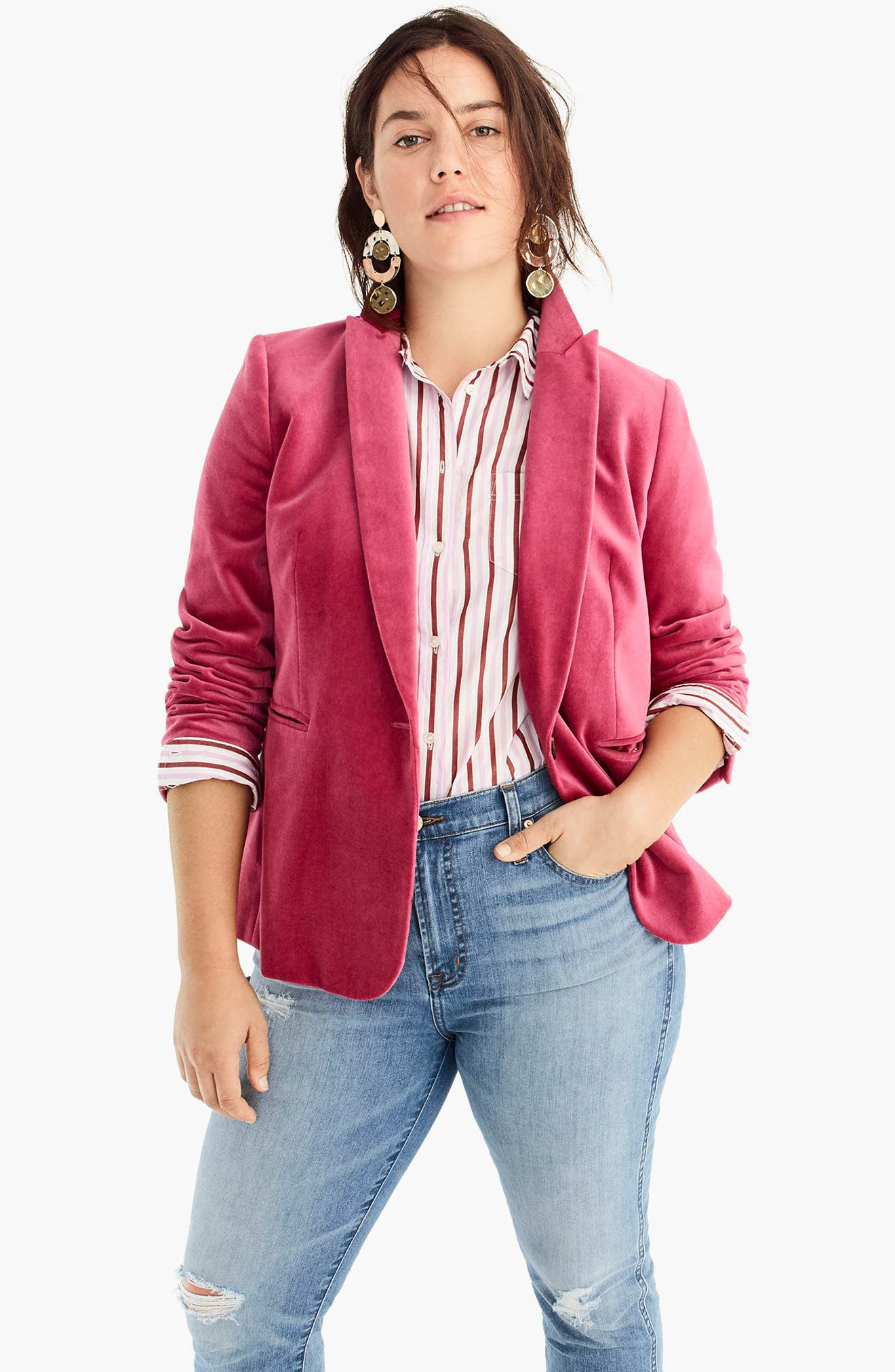 Parke Velvet Blazer,                             Alternate thumbnail 12, color,                             DRIED ROSE