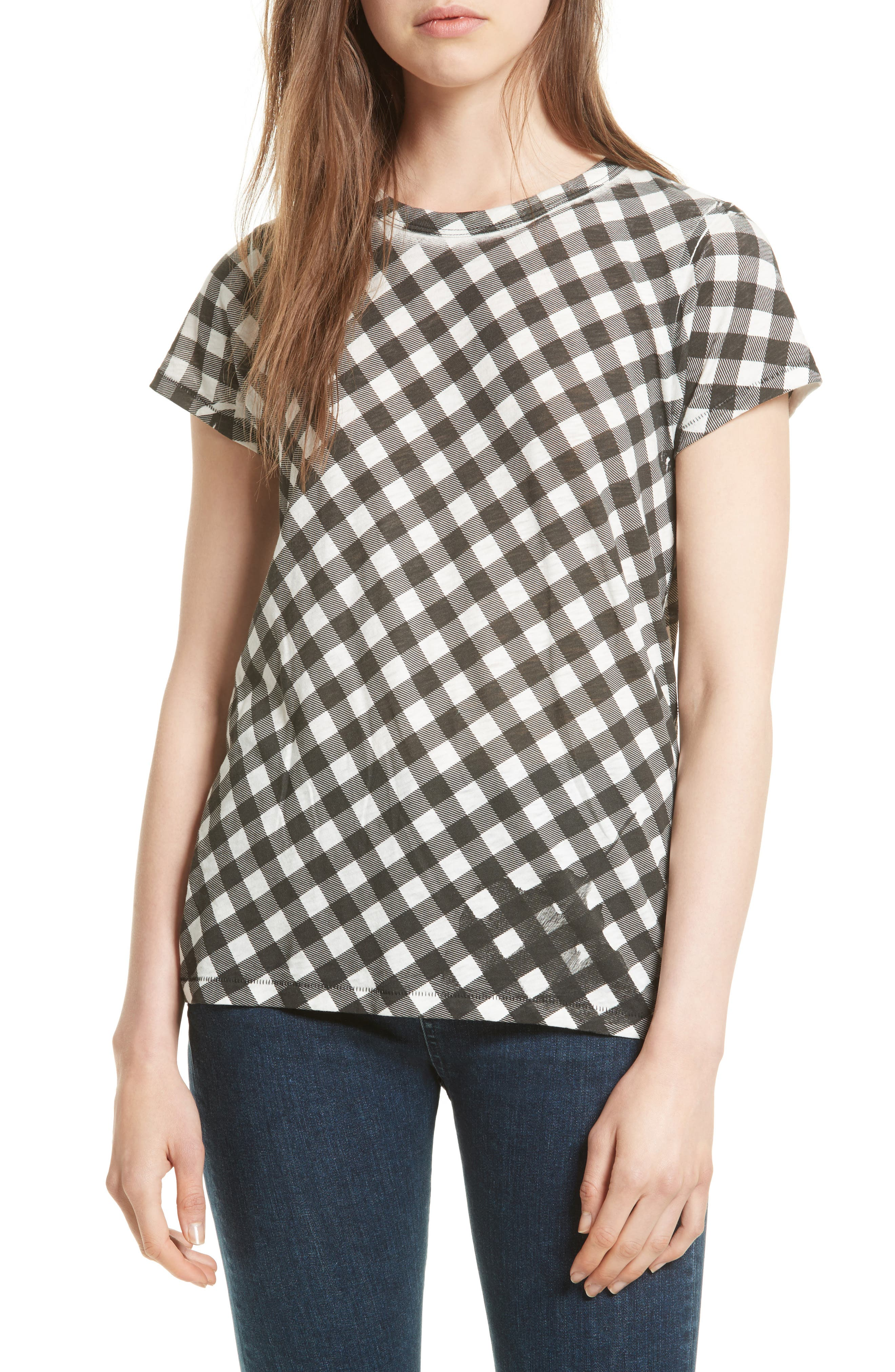 Gingham Tee,                         Main,                         color, 001