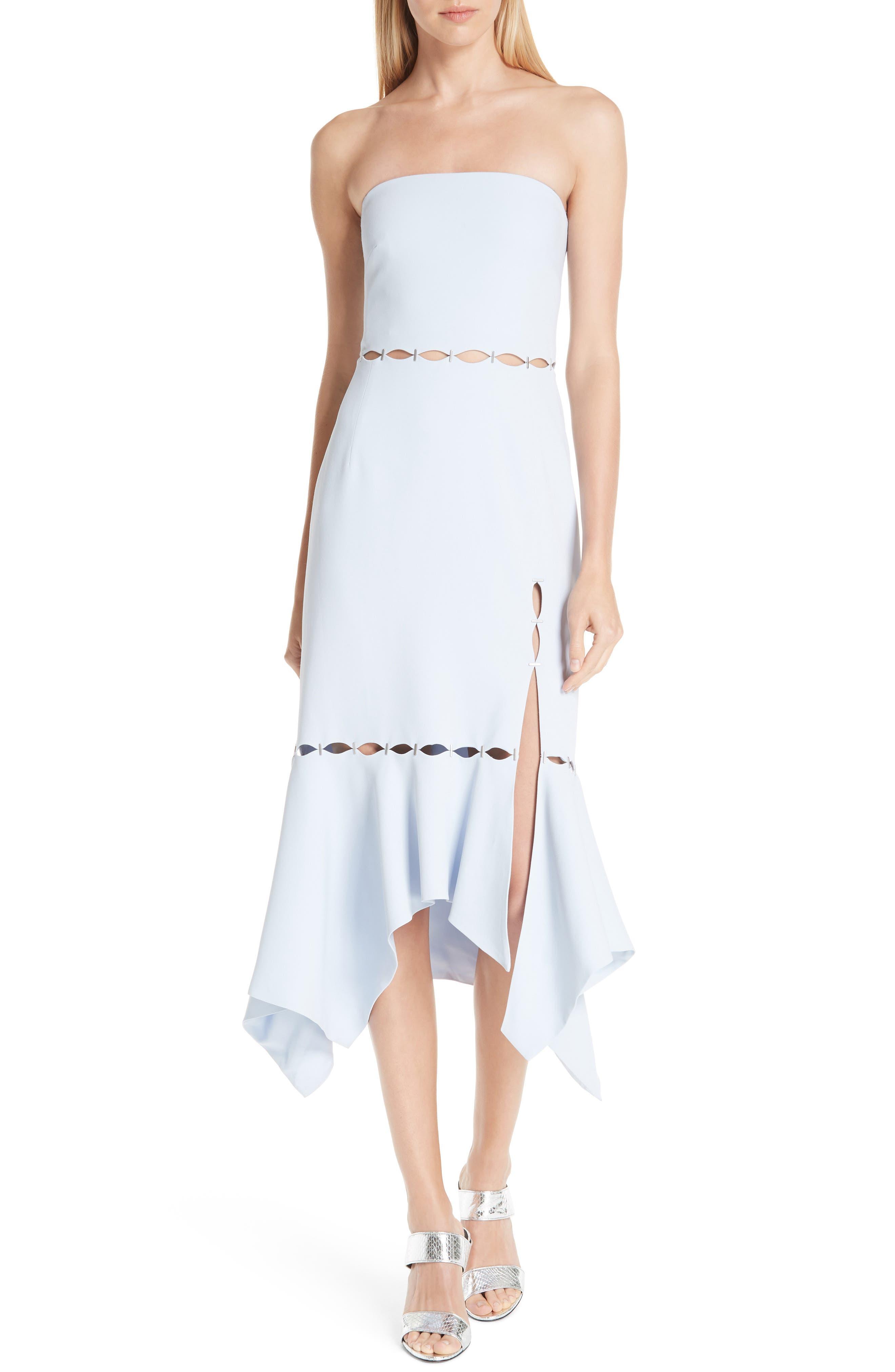 Jonathan Simkhai Stapled Crepe Strapless Dress