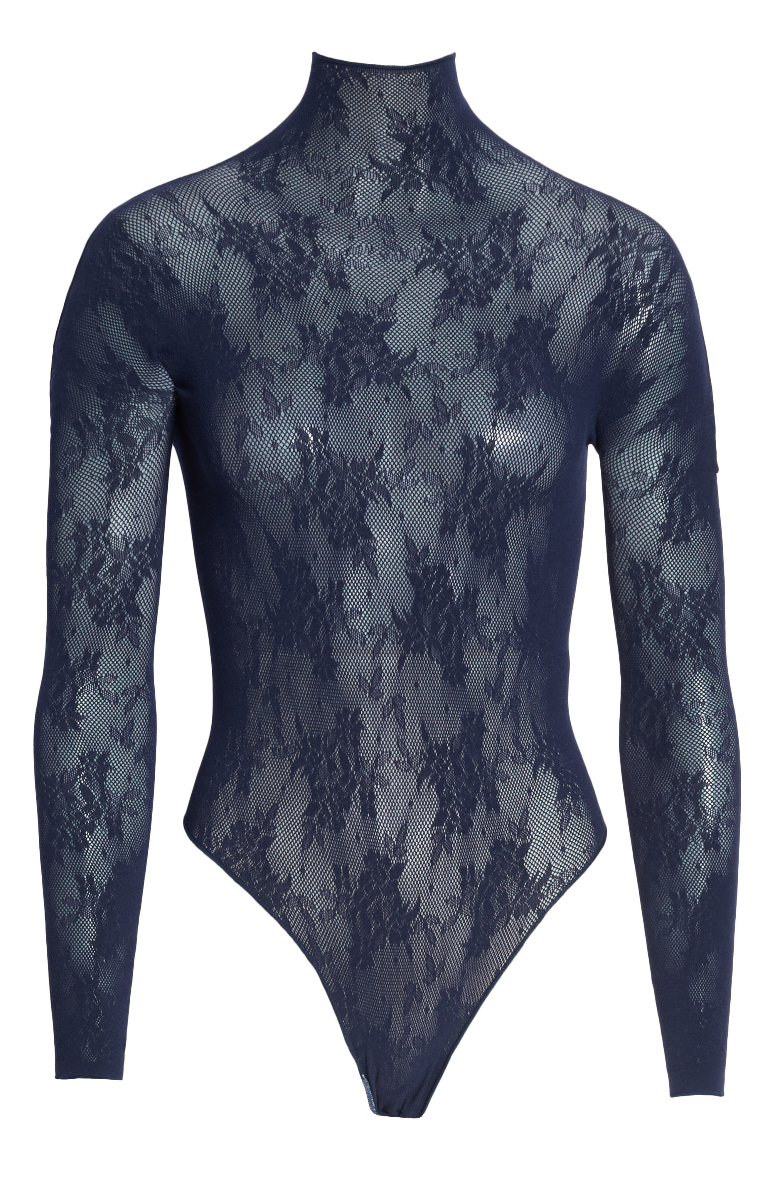 x Atlantic-Pacific Lace Thong Bodysuit,                             Alternate thumbnail 6, color,                             NAVY BLAZER