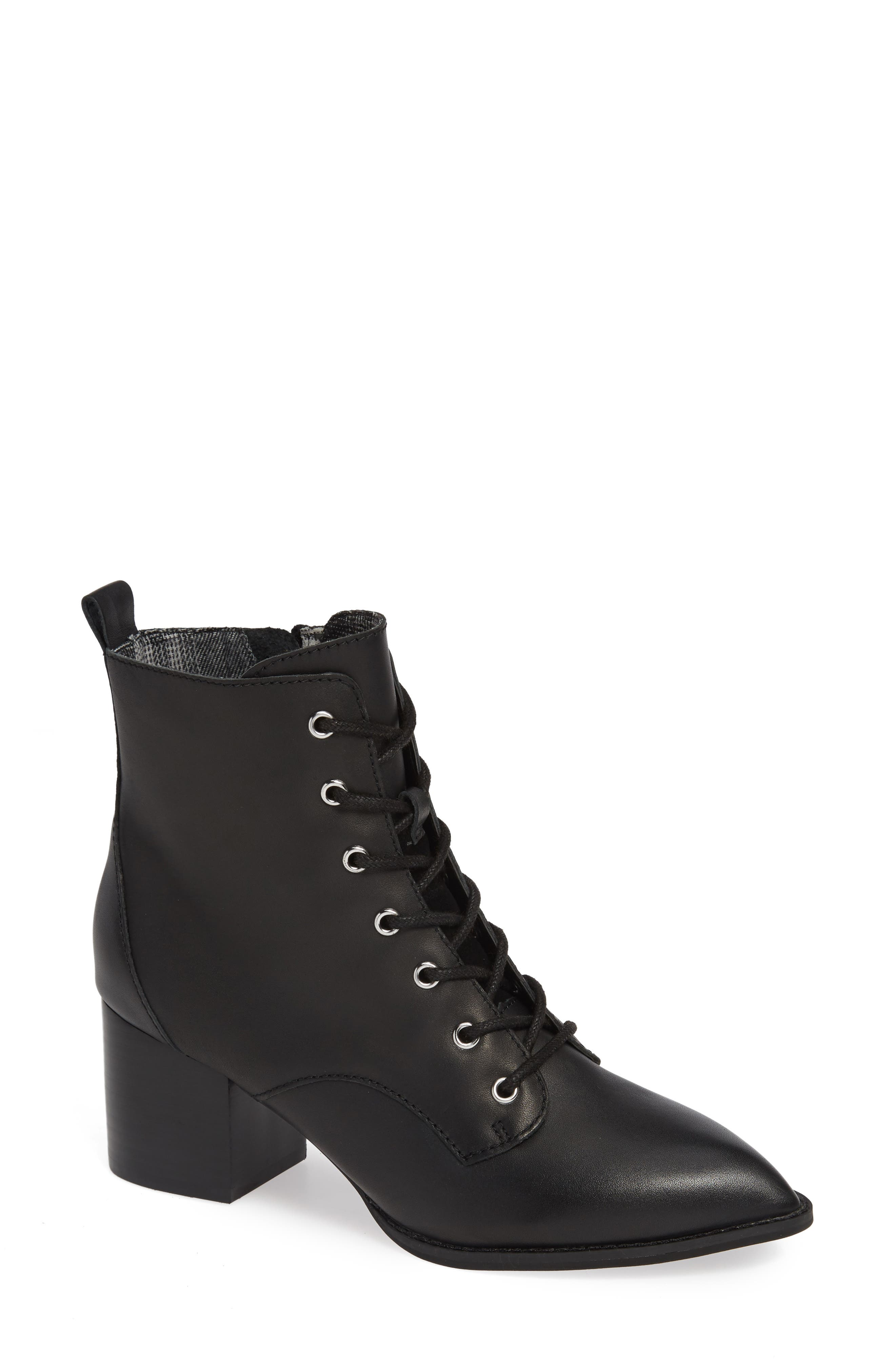 Trench Bootie,                             Main thumbnail 1, color,                             BLACK LEATHER