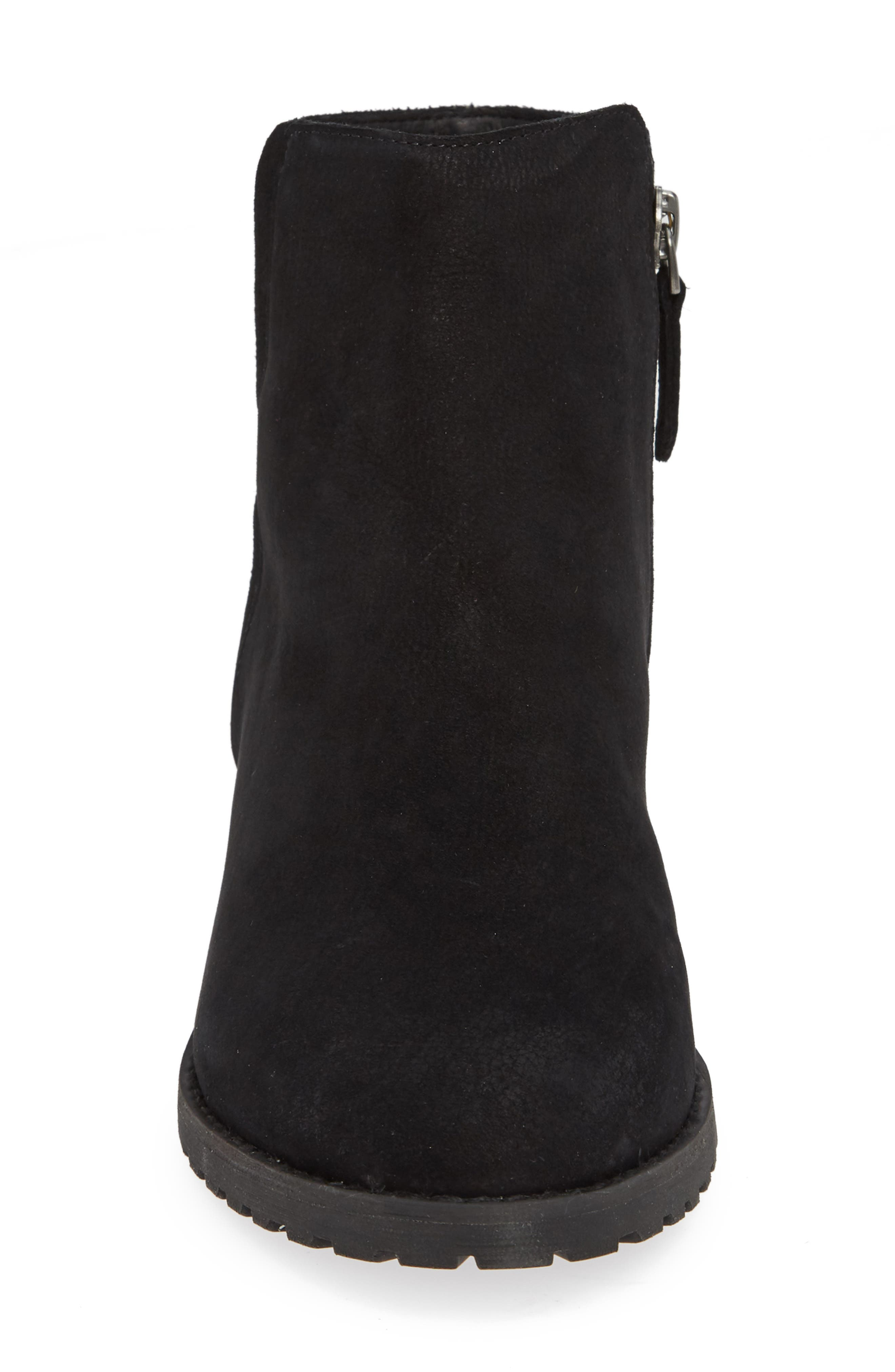 Ollie Water Resistant Bootie,                             Alternate thumbnail 4, color,                             BLACK OILED NUBUCK