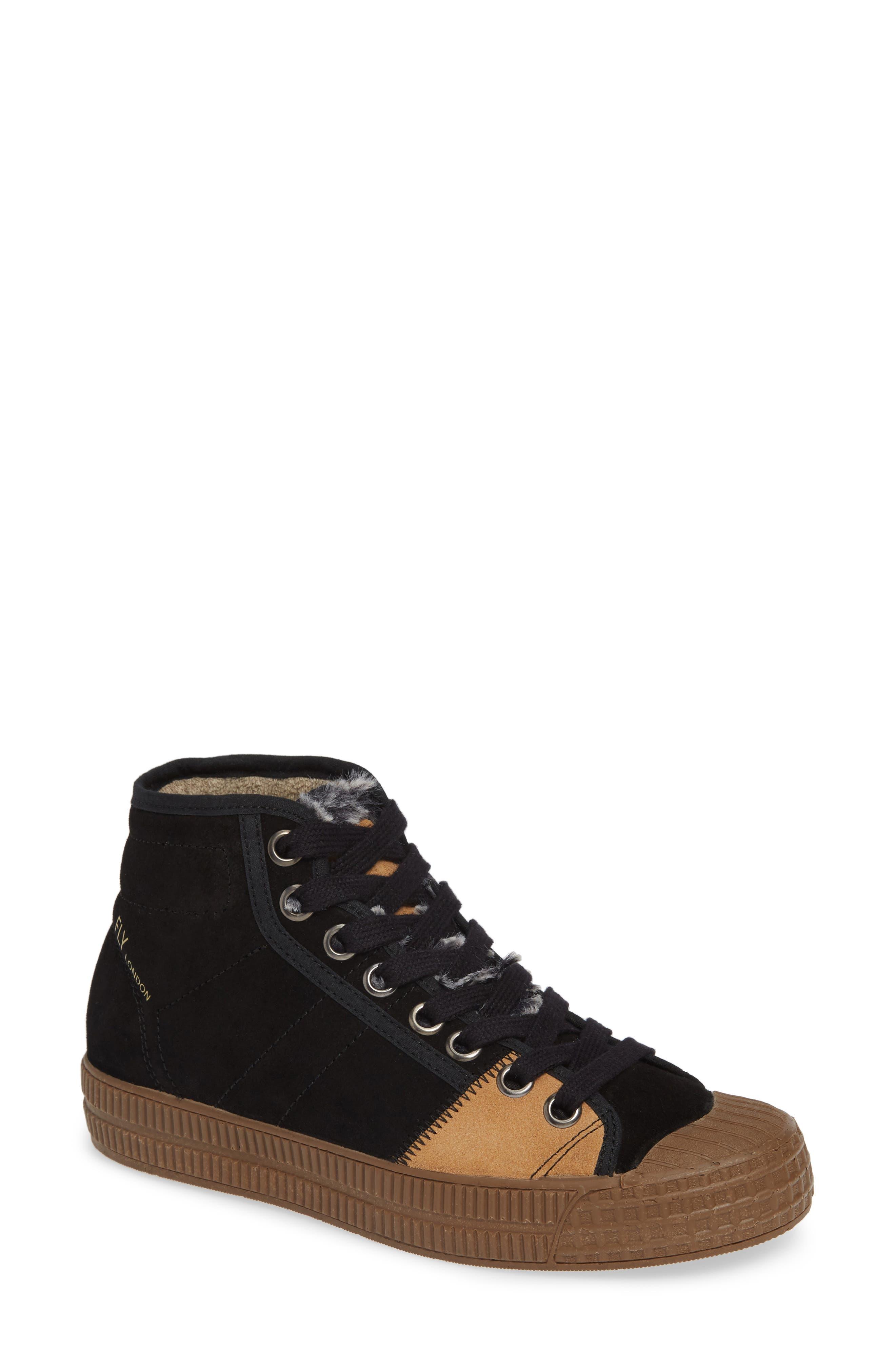 Femp High Top Sneaker,                             Main thumbnail 1, color,                             BLACK/ CAMEL SUEDE