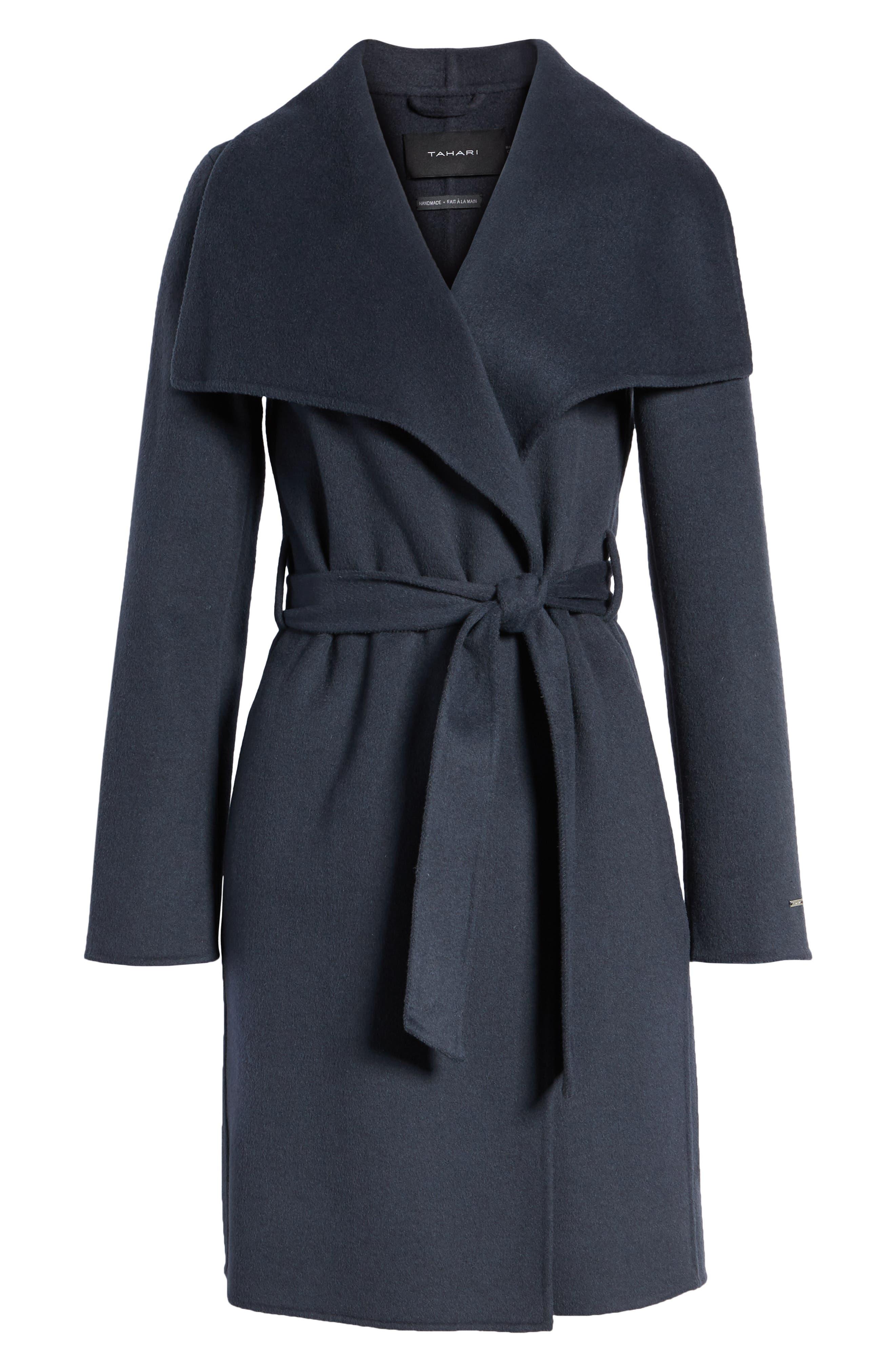 Ellie Double Face Wool Blend Wrap Coat,                             Alternate thumbnail 6, color,                             020