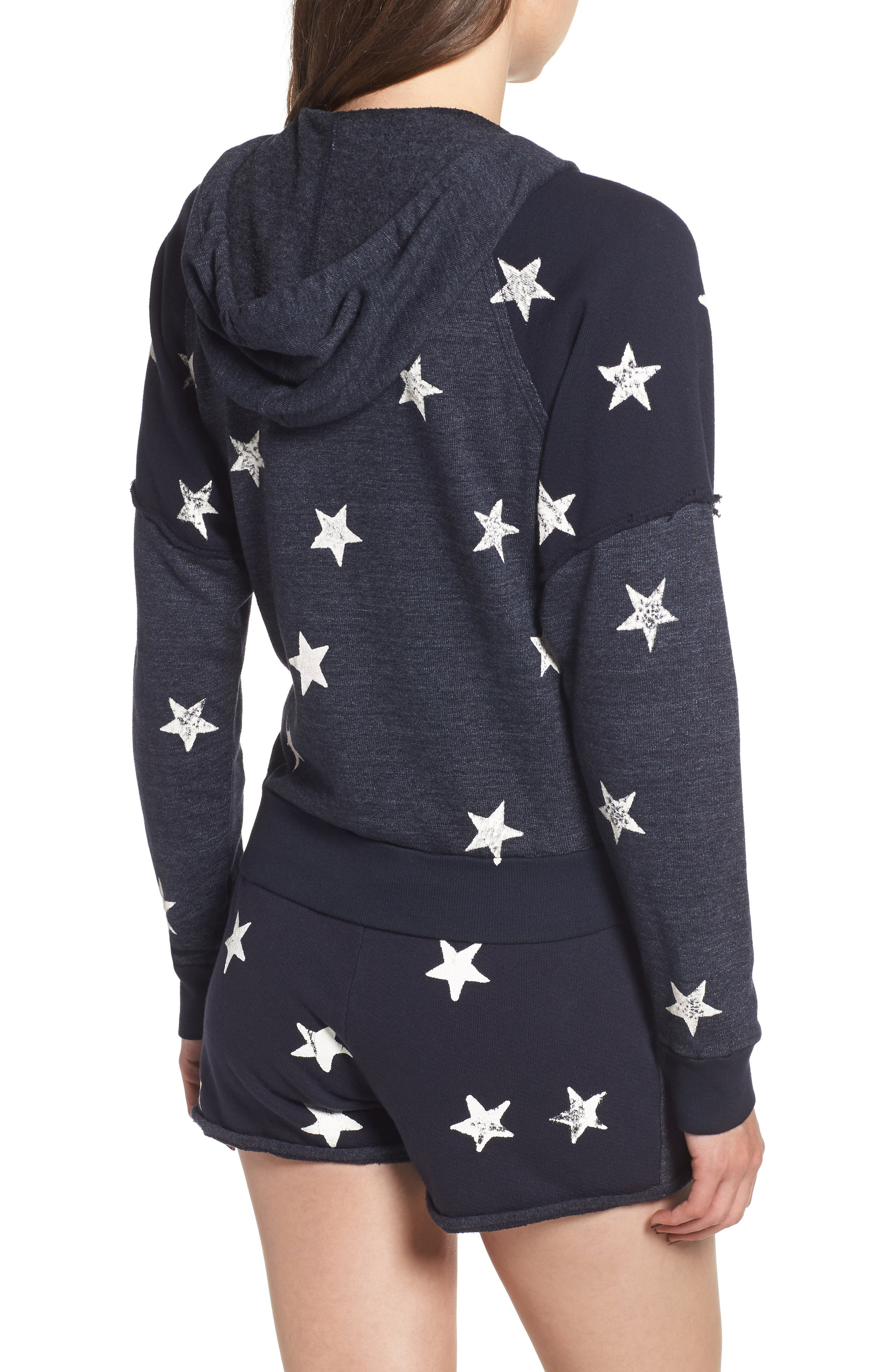Star Zip-Up Hoodie,                             Alternate thumbnail 2, color,                             NAVY/ WHITE