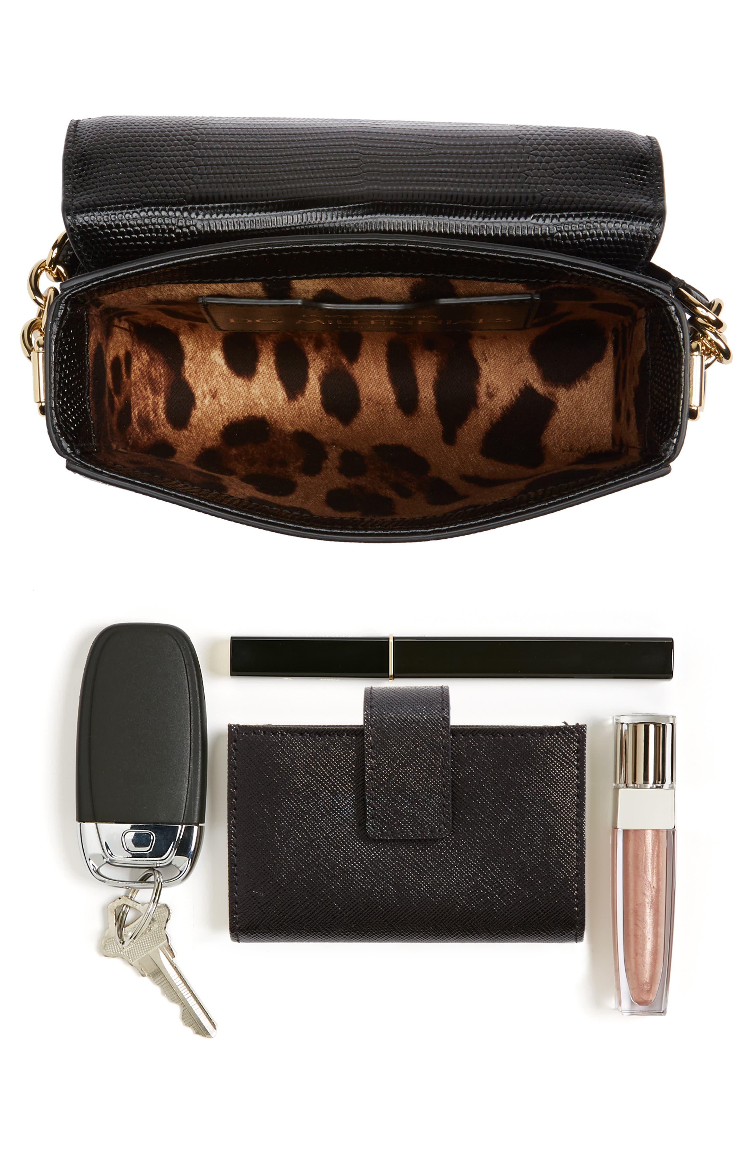 Millennial Reptile Embossed Leather Crossbody Bag,                             Alternate thumbnail 7, color,                             NERO