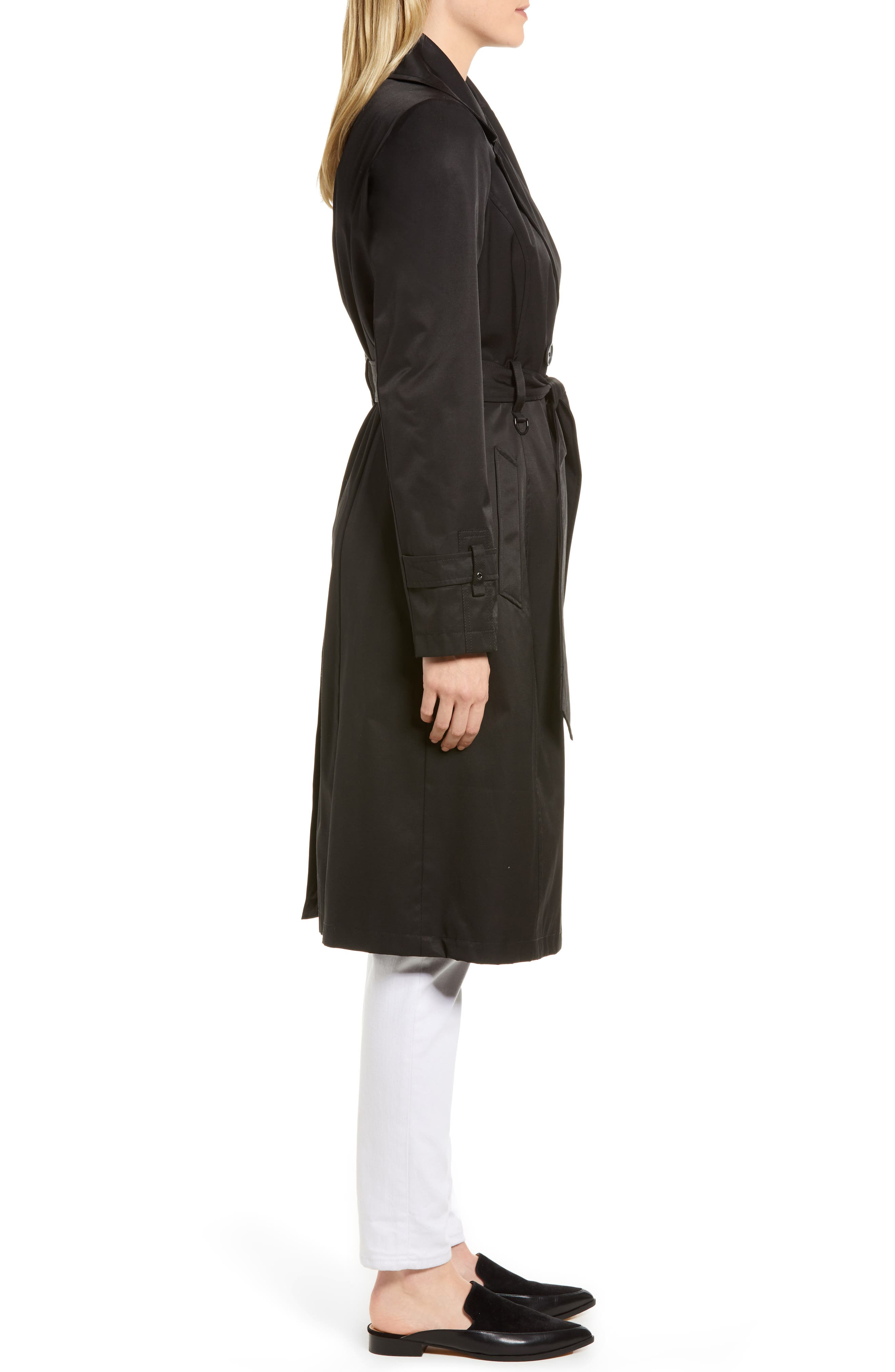 Double Breasted Trench Coat,                             Alternate thumbnail 3, color,                             001