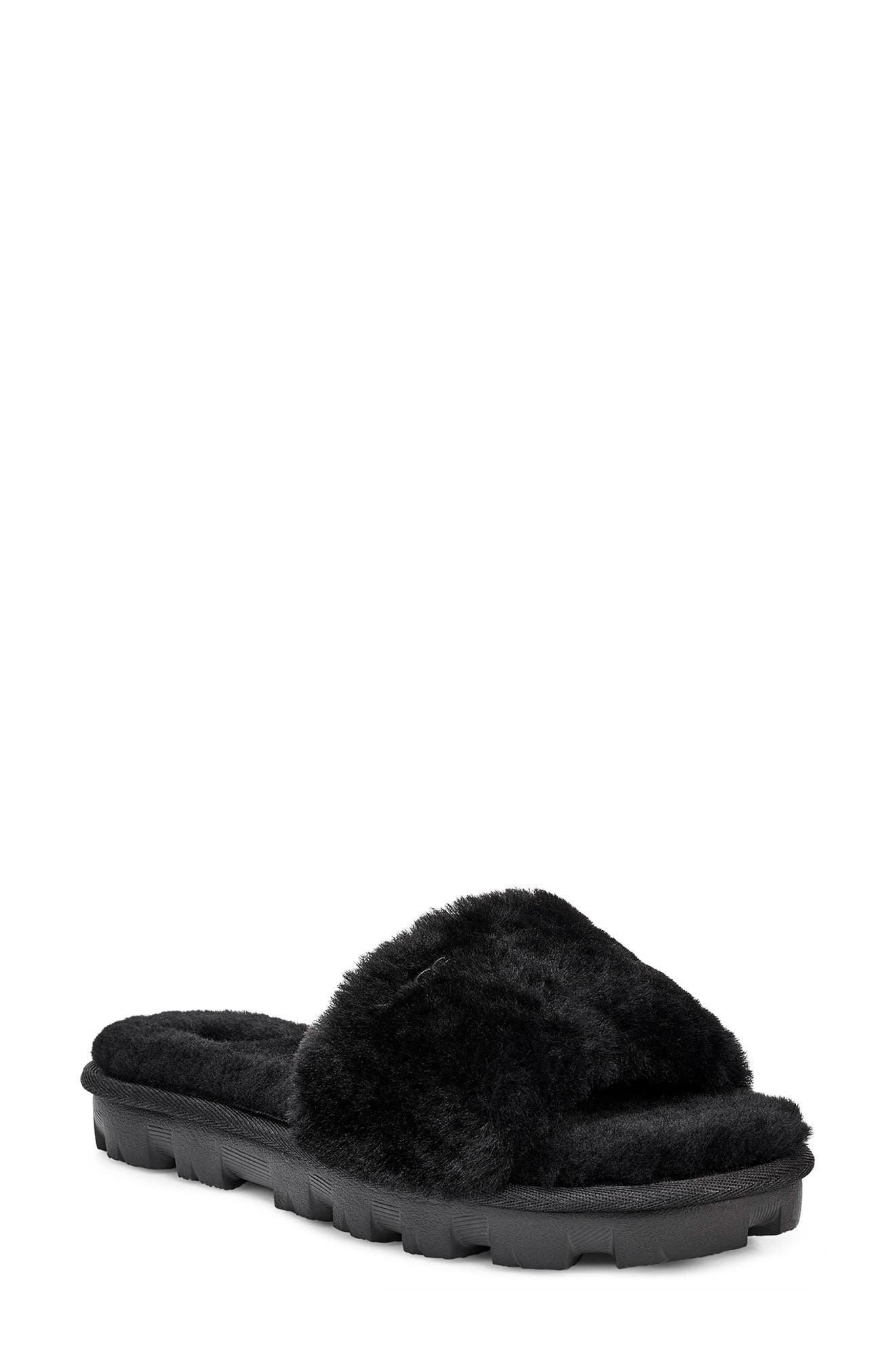 Cosette Genuine Shearling Slipper, Main, color, BLACK