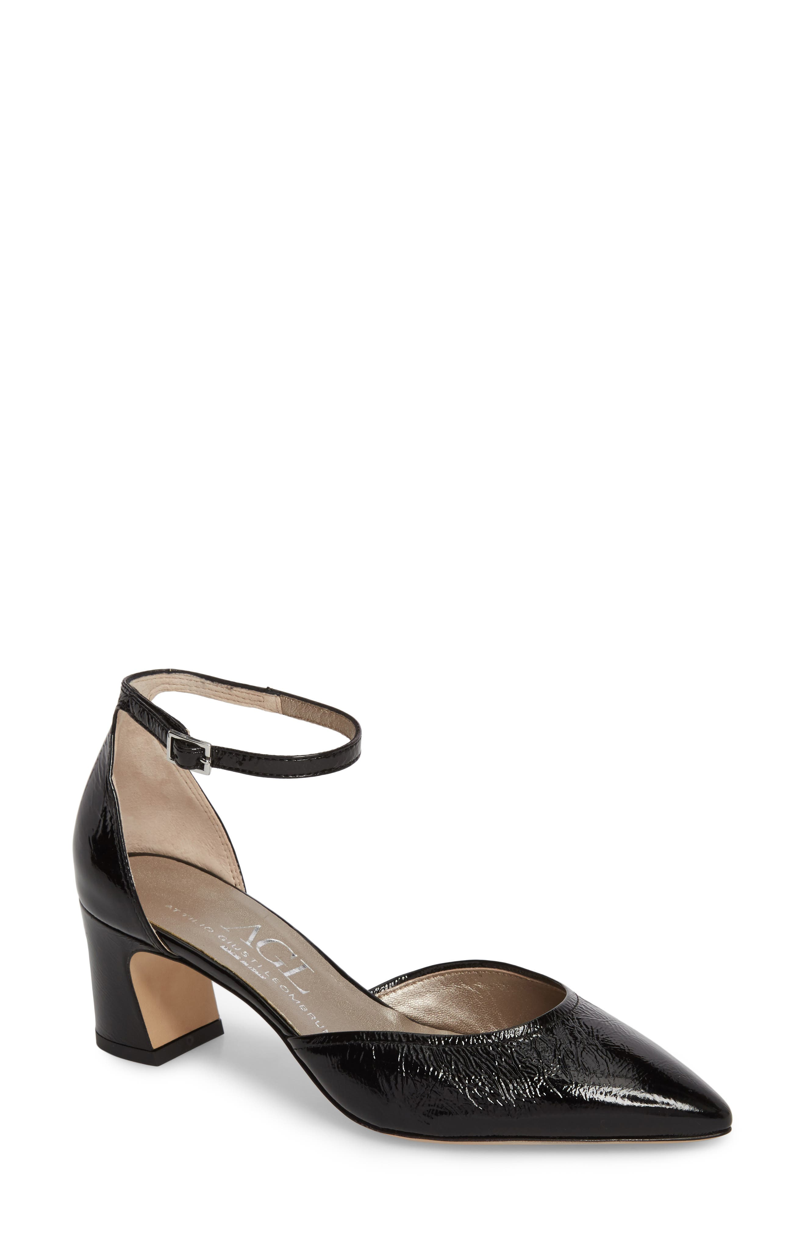 d'Orsay Ankle Strap Pump,                             Main thumbnail 1, color,                             BLACK GLAMMY LEATHER