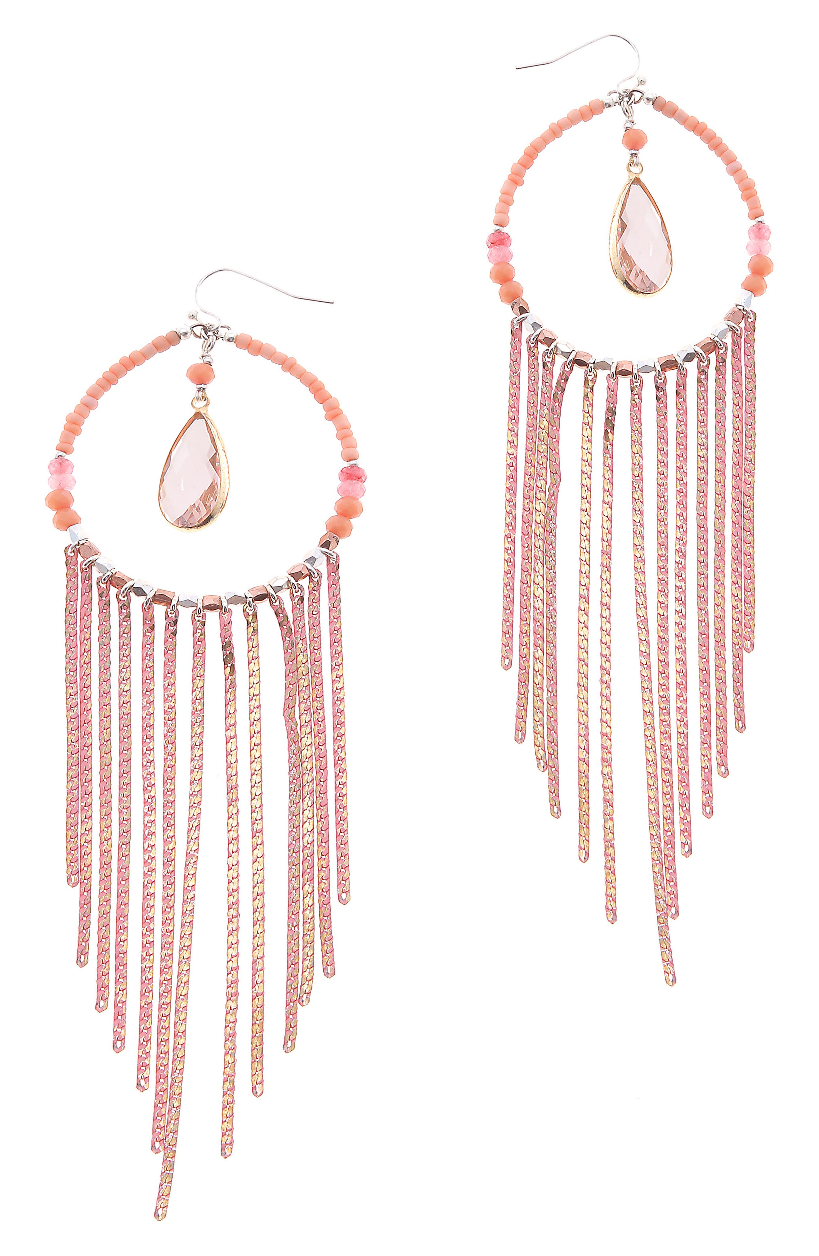 NAKAMOL DESIGN,                             Round Chain Fringe Earrings,                             Main thumbnail 1, color,                             800