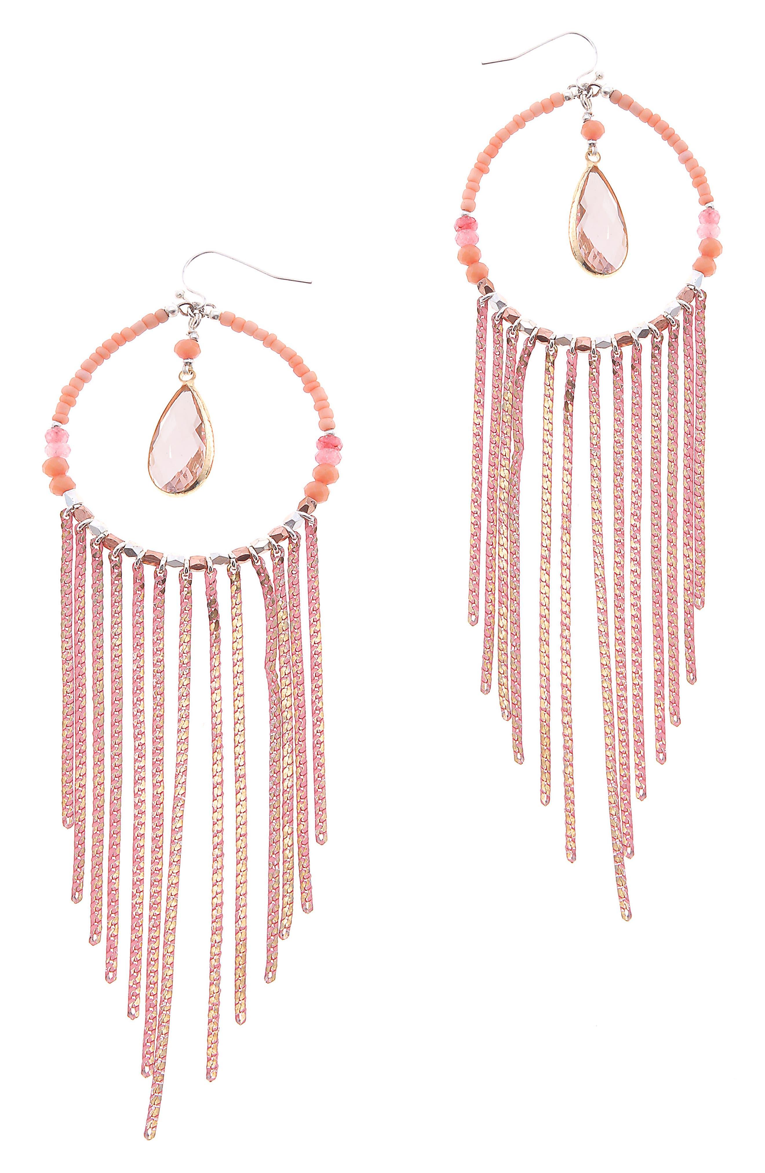 NAKAMOL DESIGN Round Chain Fringe Earrings, Main, color, 800