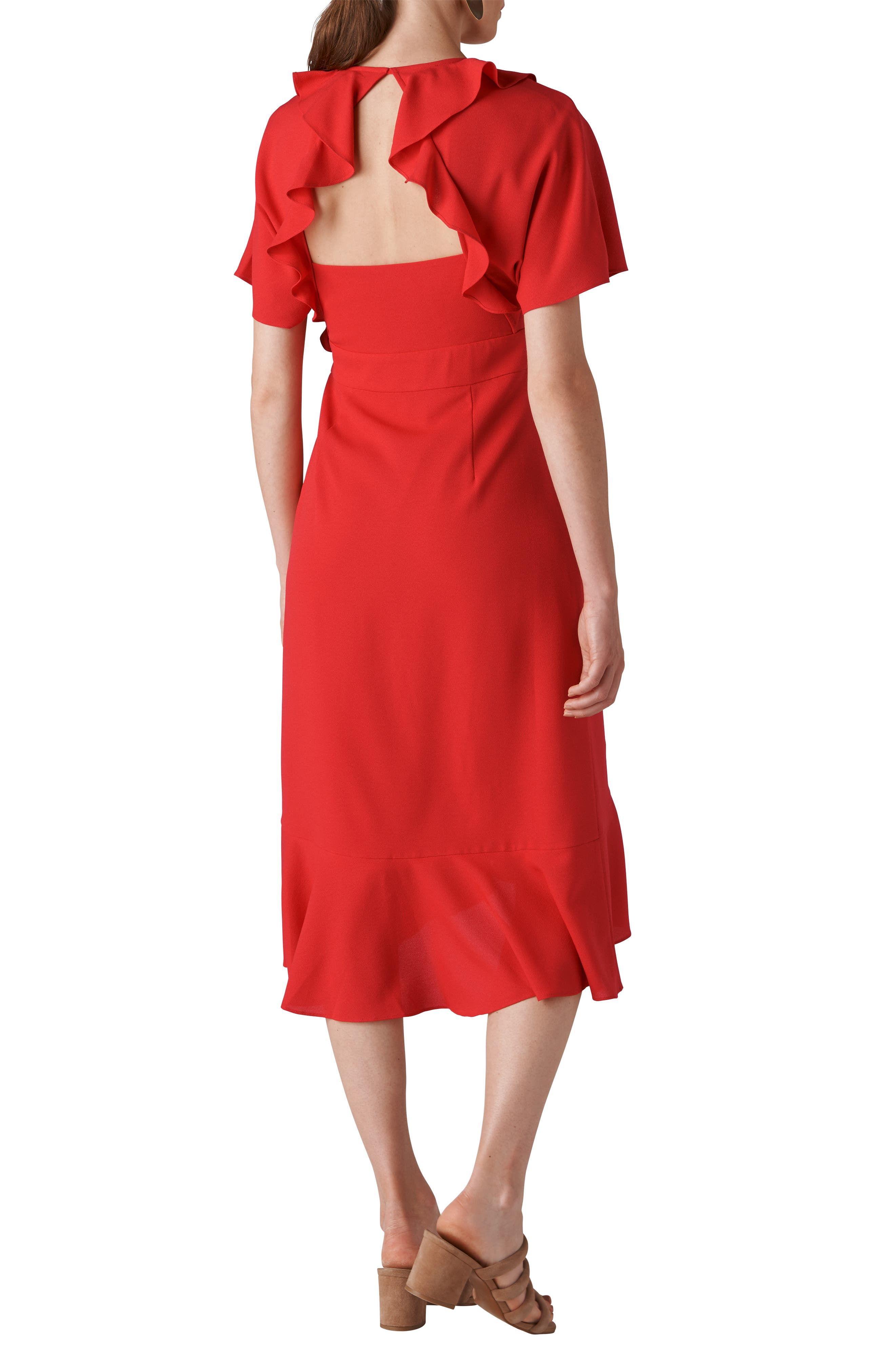 Abigail Frill Wrap Dress,                             Alternate thumbnail 2, color,                             RED