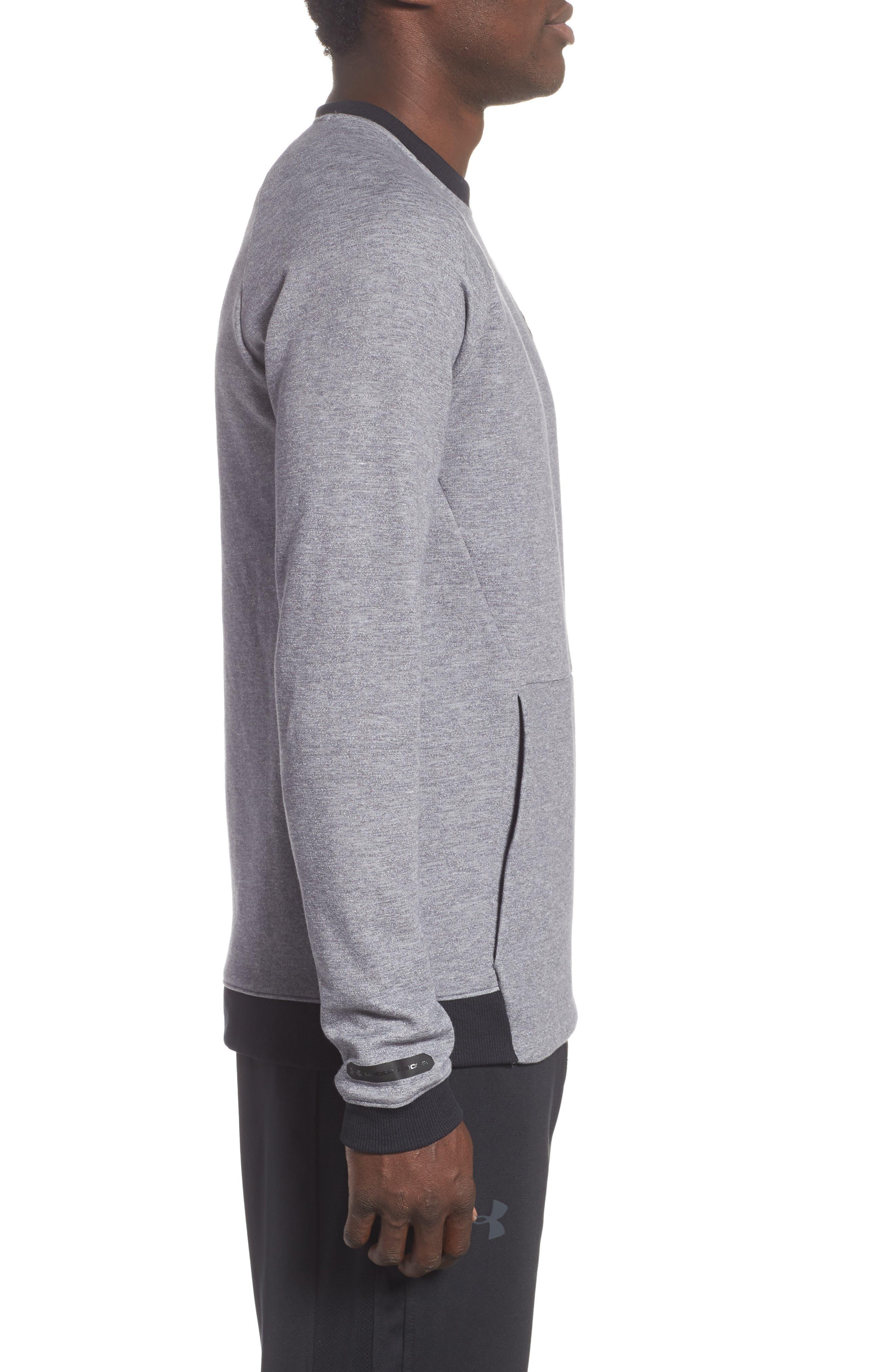 UNDER ARMOUR,                             Sportstyle 2x Crew Sweatshirt,                             Alternate thumbnail 3, color,                             STEEL