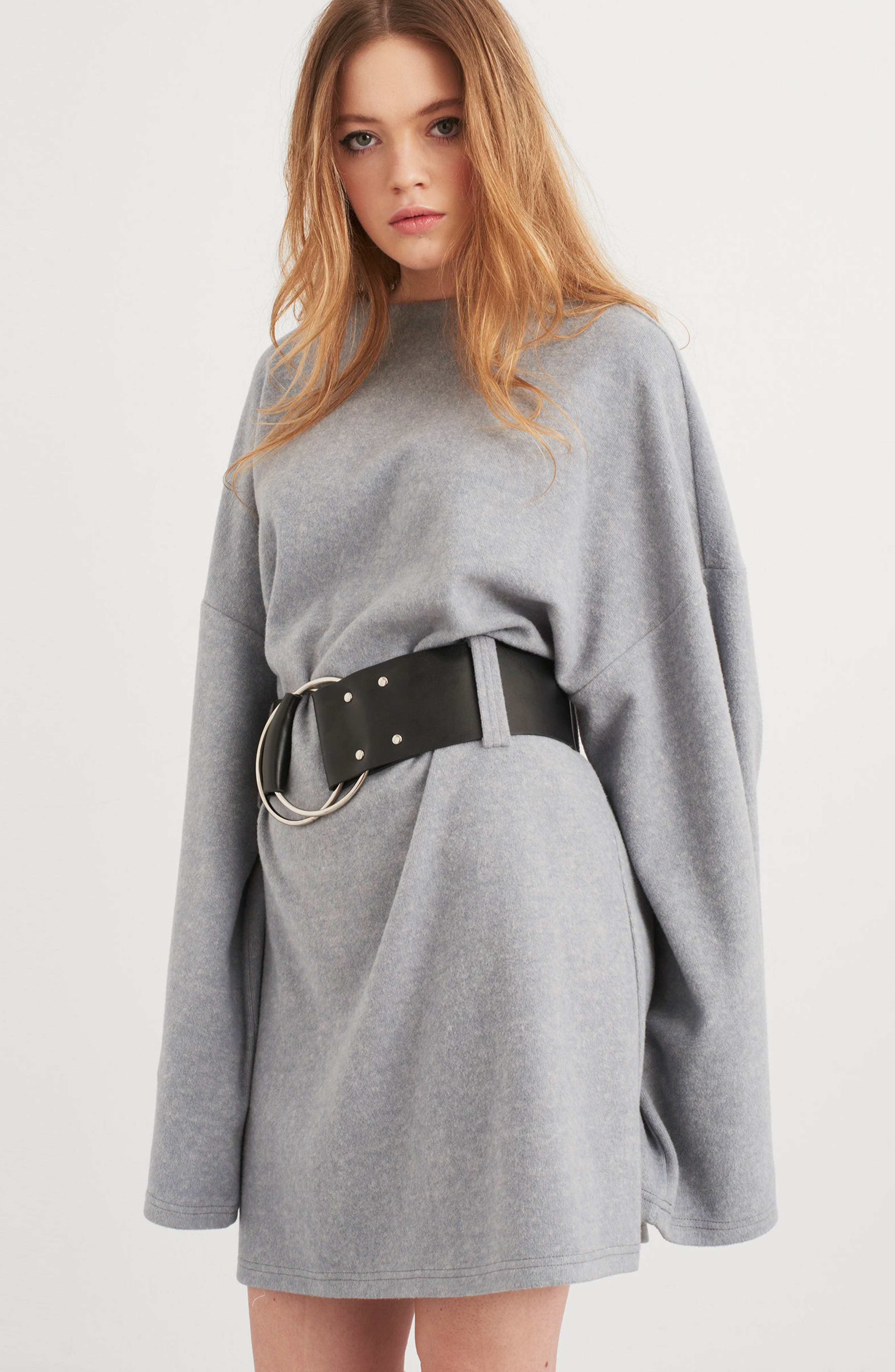 Belted Bell Sleeve Sweater Dress,                             Alternate thumbnail 7, color,                             020