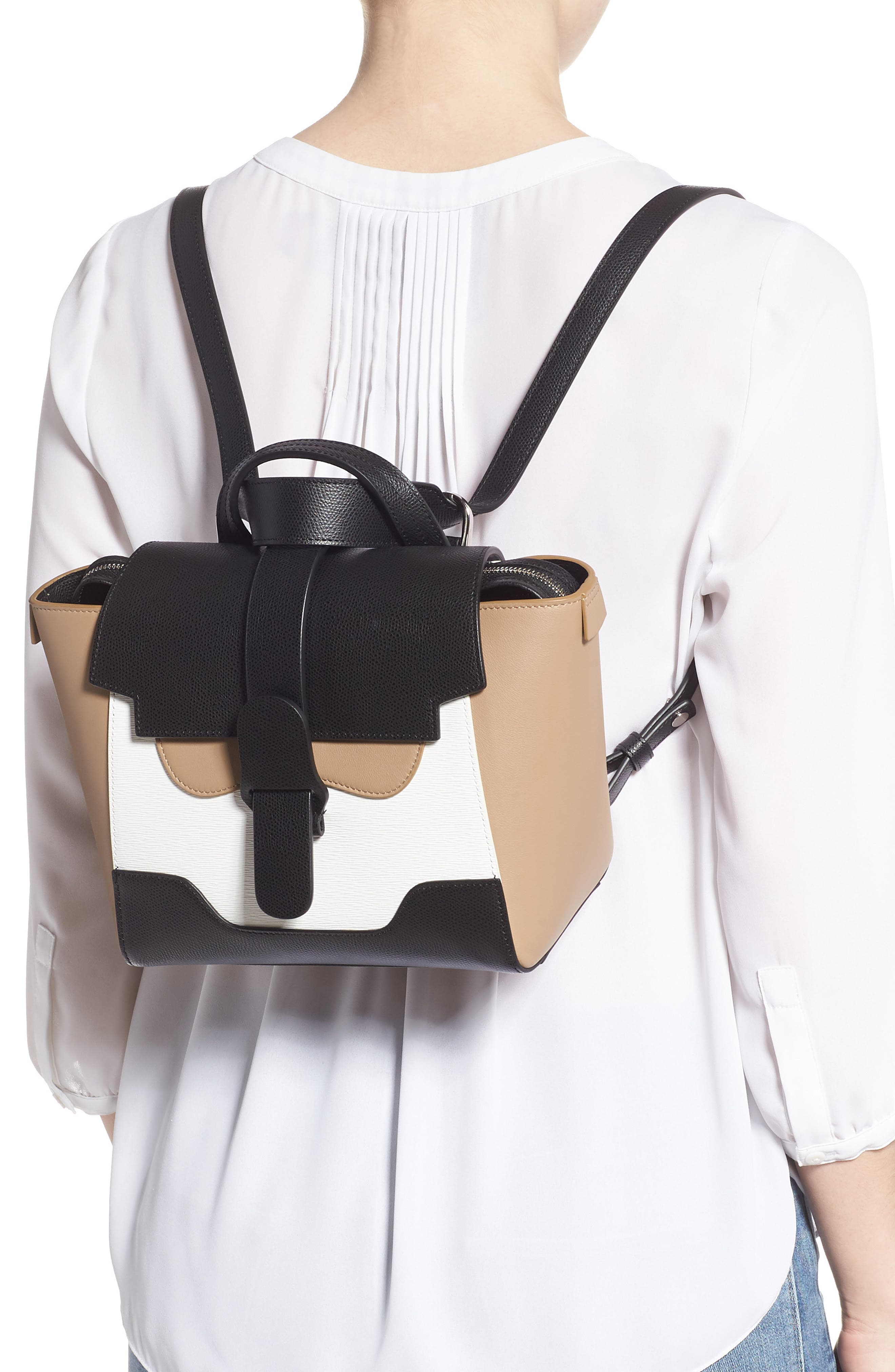 Mini Maestra Colorblock Leather Satchel,                             Alternate thumbnail 2, color,                             BLACK/ WHITE/ CHESTNUT