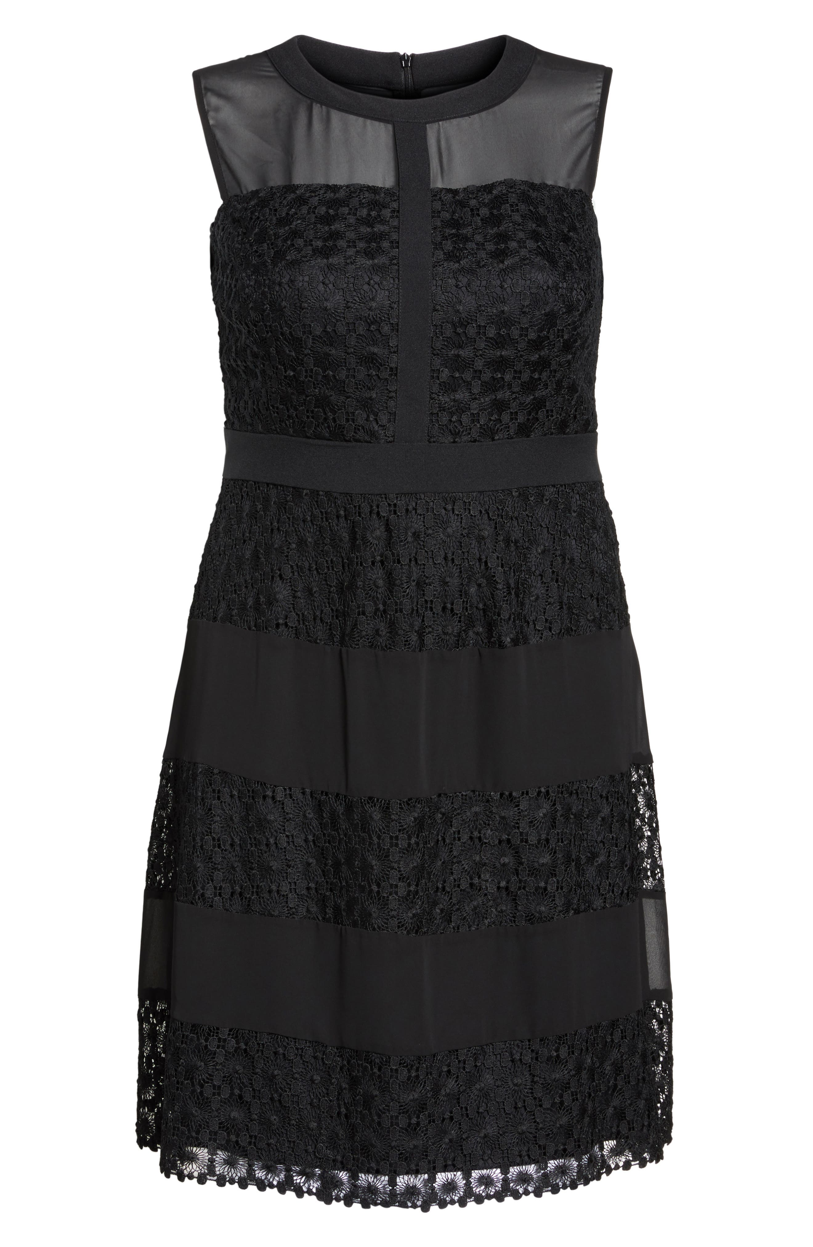 London Time Geo Galaxy Lace Fit & Flare Dress,                             Alternate thumbnail 6, color,                             001