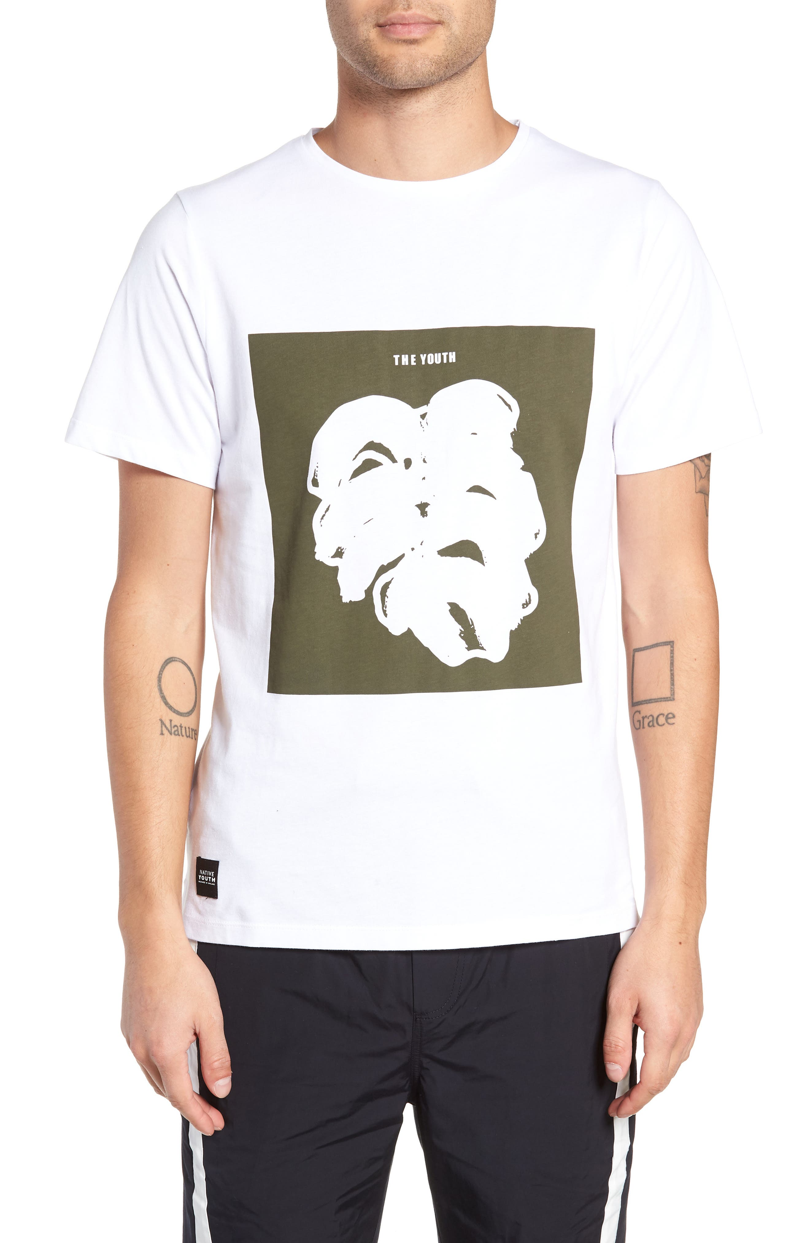 NATIVE YOUTH Placement Print T-Shirt in White