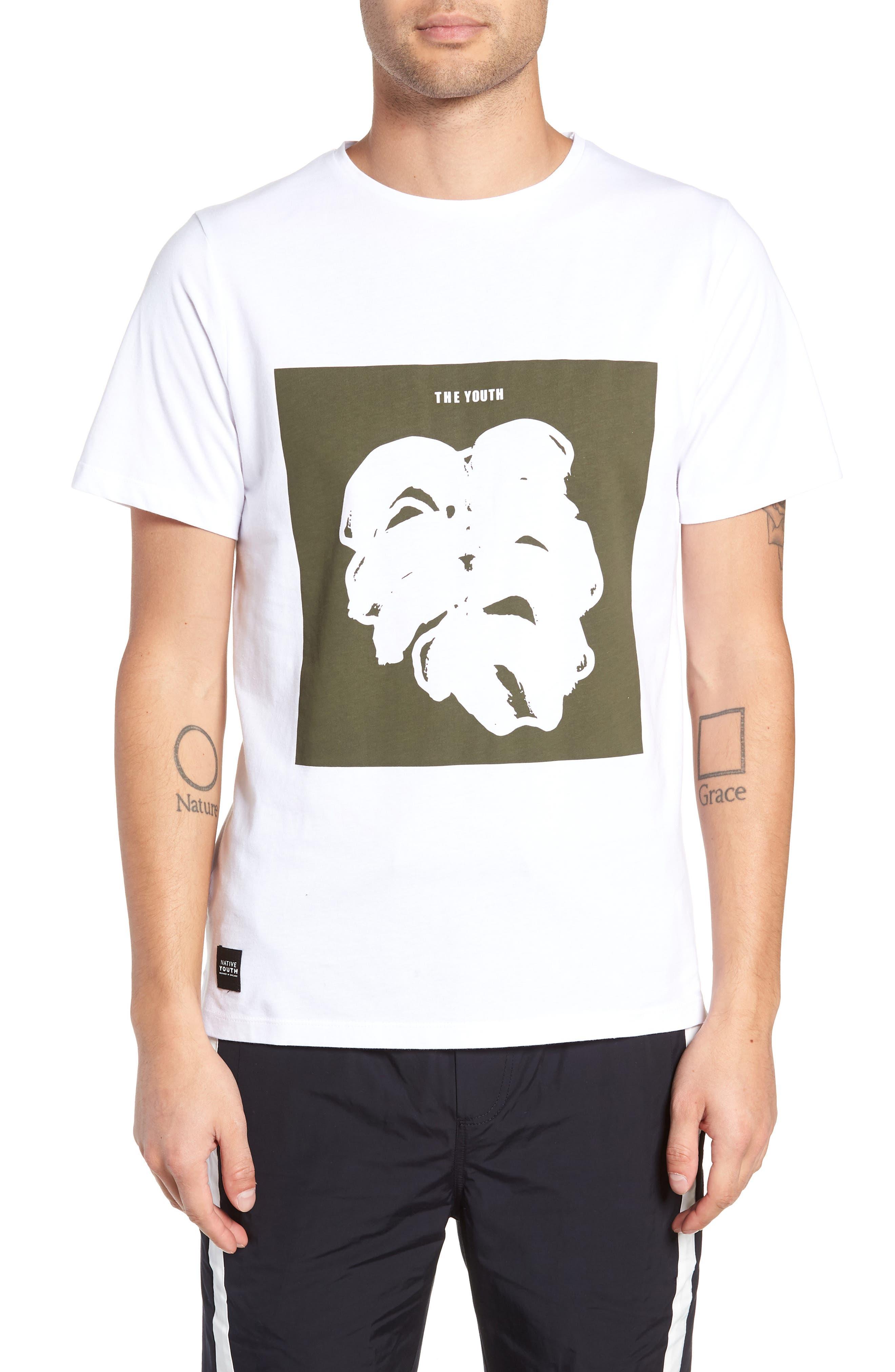 Placement Print T-Shirt,                         Main,                         color, WHITE