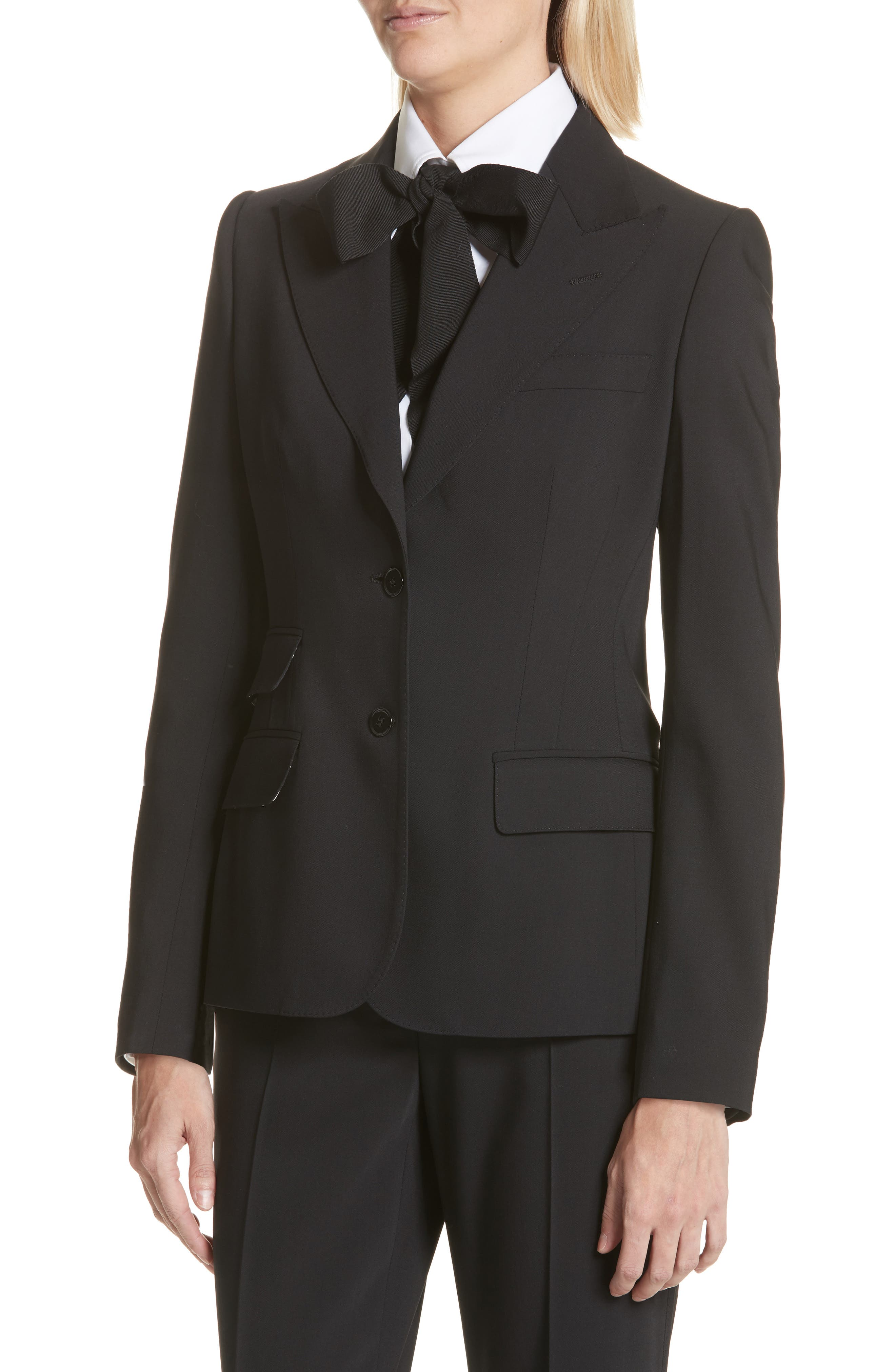 Two Button Stretch Wool Jacket,                             Alternate thumbnail 4, color,                             BLACK