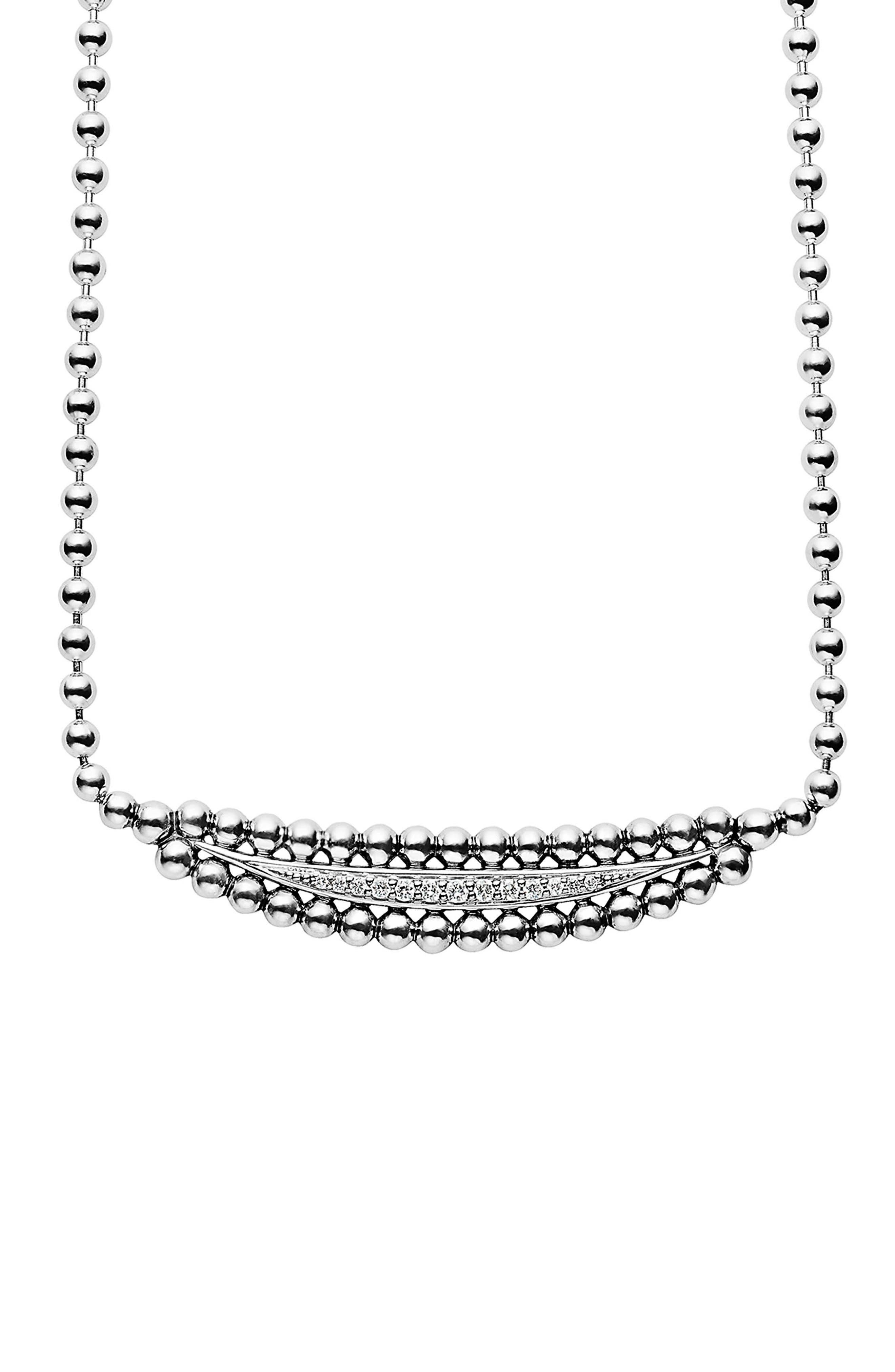 Caviar Spark Diamond Necklace,                             Main thumbnail 1, color,                             SILVER/ DIAMOND